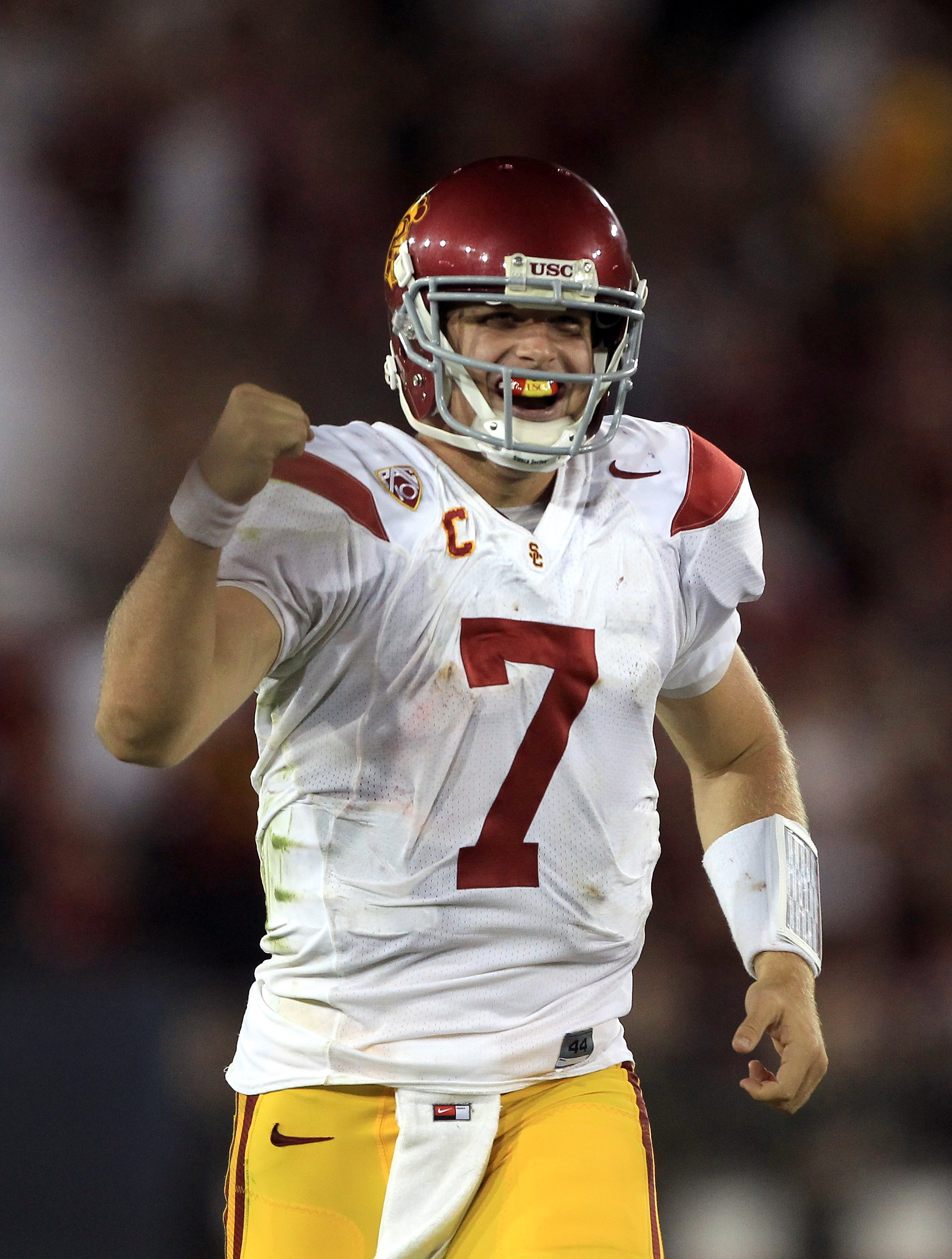 PALO ALTO, CA - OCTOBER 09:  Matt Barkley #7 celebrates after Robert Woods #13 of the USC Trojans ran the ball in for a touchdown against the Stanford Cardinal at Stanford Stadium on October 9, 2010 in Palo Alto, California.  (Photo by Ezra Shaw/Getty Ima