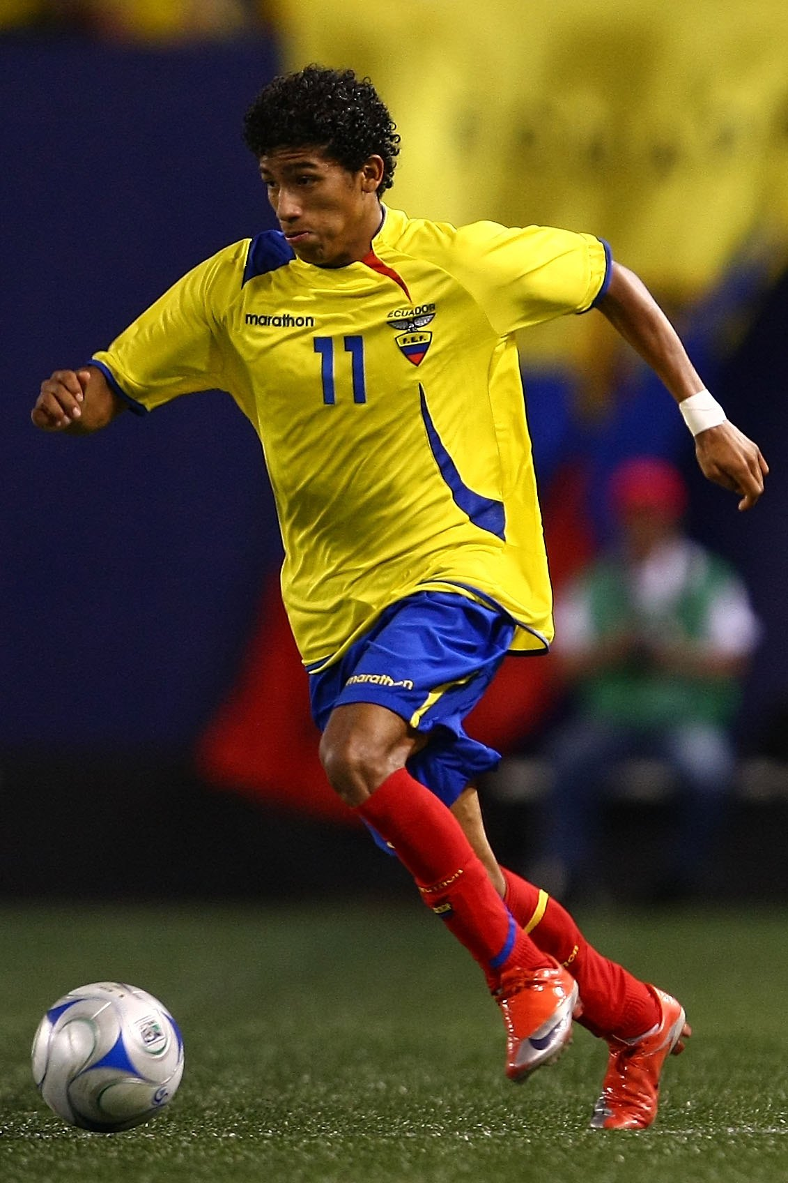 EAST RUTHERFORD, NJ - AUGUST 12:  Joao Rojas #11 of Ecuador looks to pass against Jamaica during their match at Giants Stadium on August 12, 2009 in East Rutherford, New Jersey.  (Photo by Chris McGrath/Getty Images)