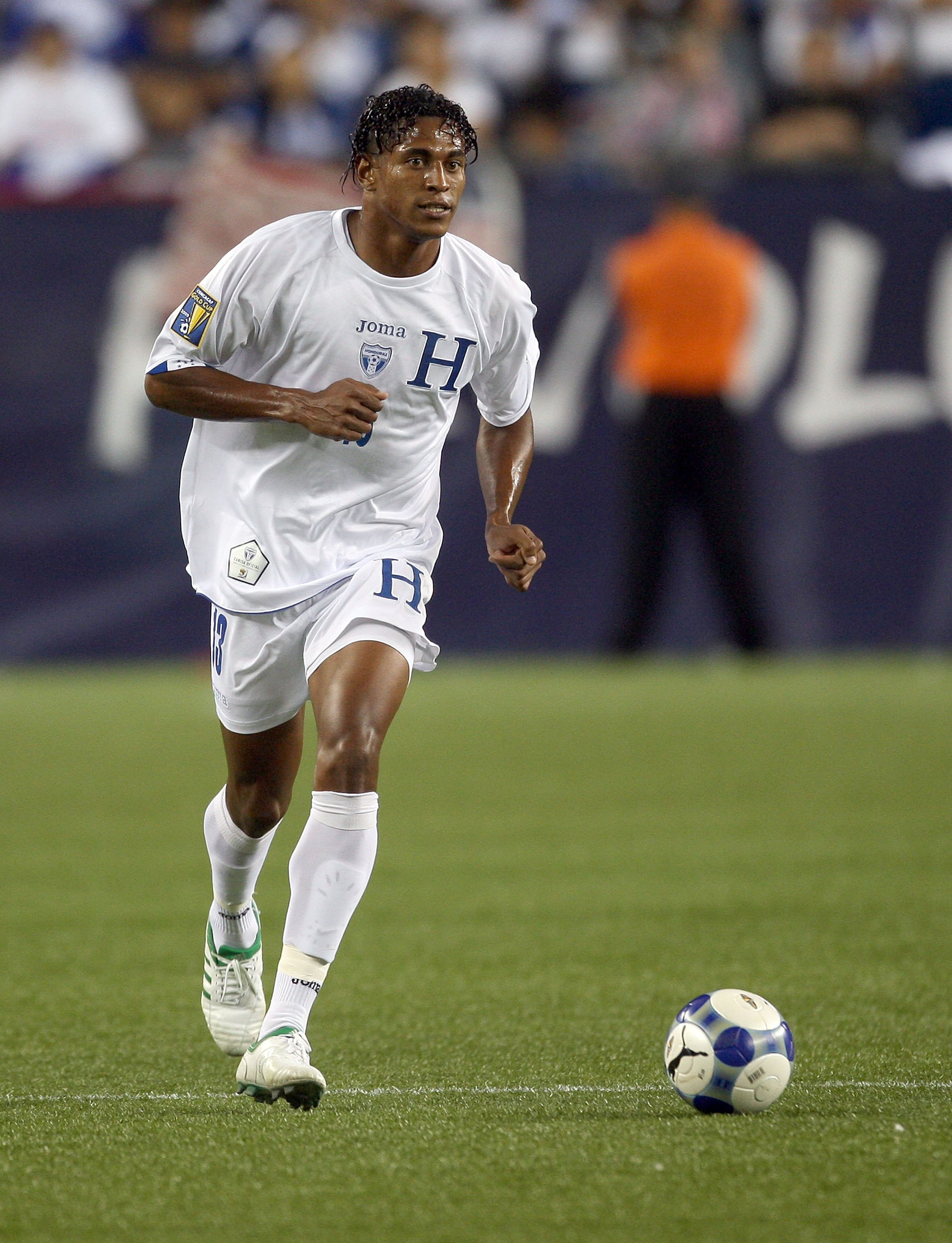 FOXBOROUGH, MA - JULY 11:  Carlo Costly #13 of Honduras competes against Grenada during 2009 CONCACAF Gold Cup competition at Gillette Stadium on July 11, 2009 in Foxborough, Massachusetts. (Photo by Jim Rogash/Getty Images)