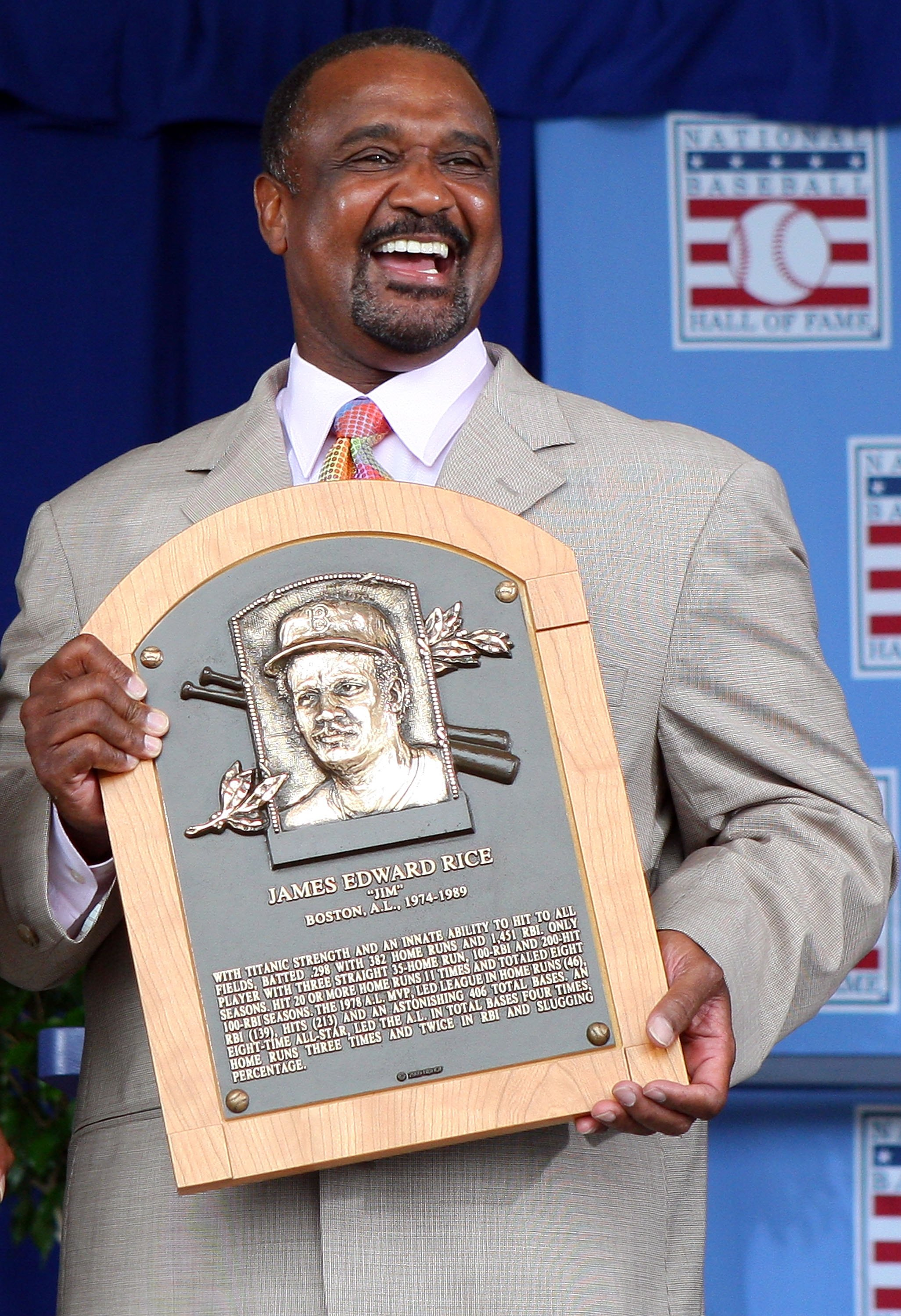 COOPERSTOWN, NY - JULY 26:  2009 inductee Jim Rice holds his plaque at Clark Sports Center after his induction into the Baseball Hall of Fame during the Baseball Hall of Fame induction ceremony on July 26, 2009 in Cooperstown, New York. Rice played his en