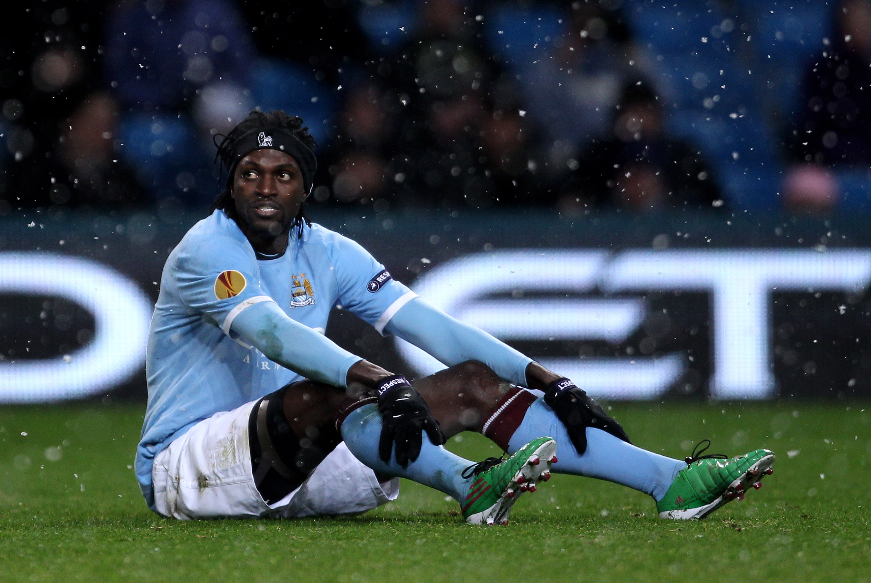 MANCHESTER, ENGLAND - DECEMBER 01:   Emmanuel Adebayor of Manchester City looks on during the UEFA Europa League Group A match between Manchester City and FC Salzburg at the City of Manchester Stadium on December 1, 2010 in Manchester, England. (Photo by