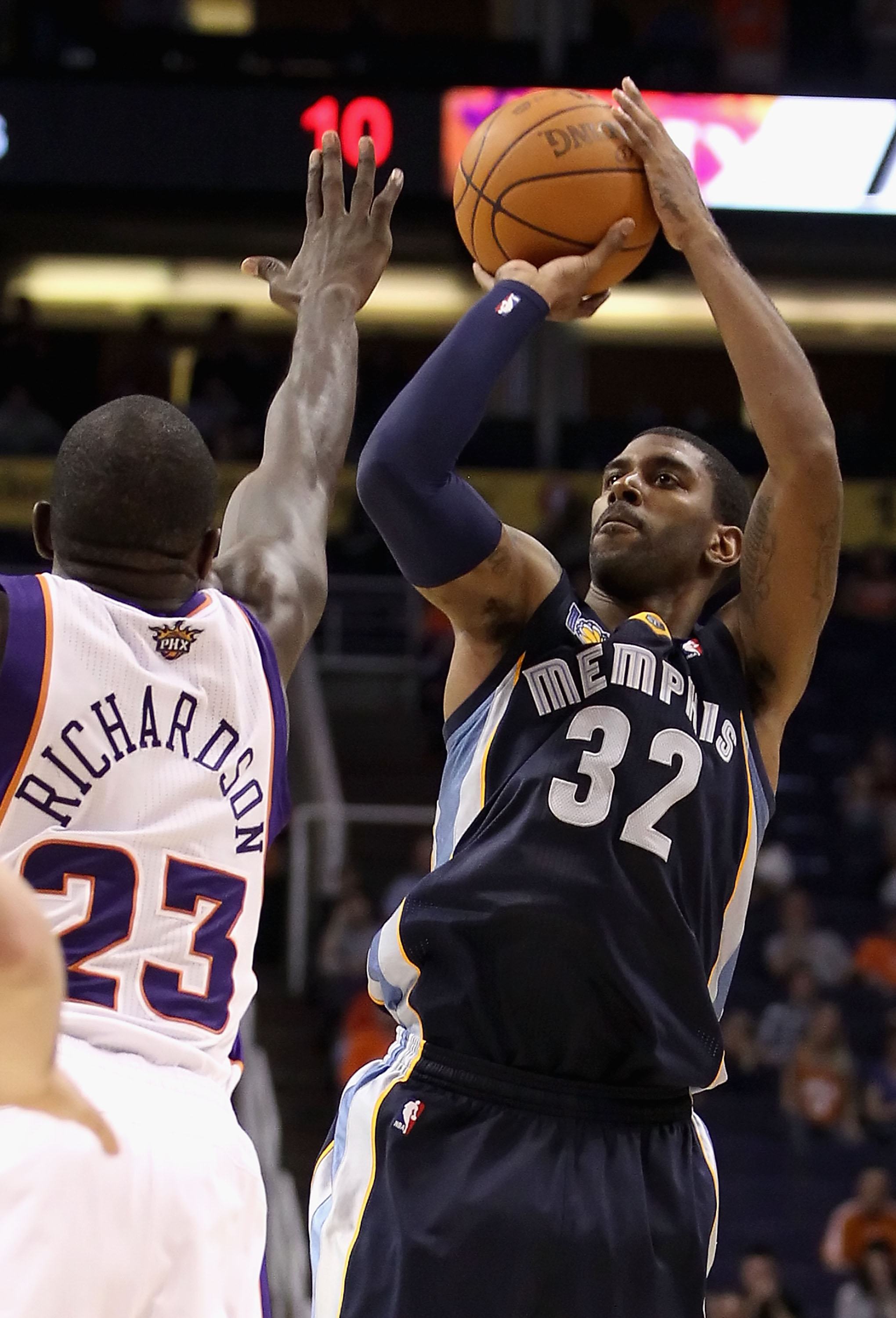 PHOENIX - NOVEMBER 05:  O.J. Mayo #32 of the Memphis Grizzlies puts up a shot during the NBA game against the Phoenix Suns at US Airways Center on November 5, 2010 in Phoenix, Arizona. NOTE TO USER: User expressly acknowledges and agrees that, by download