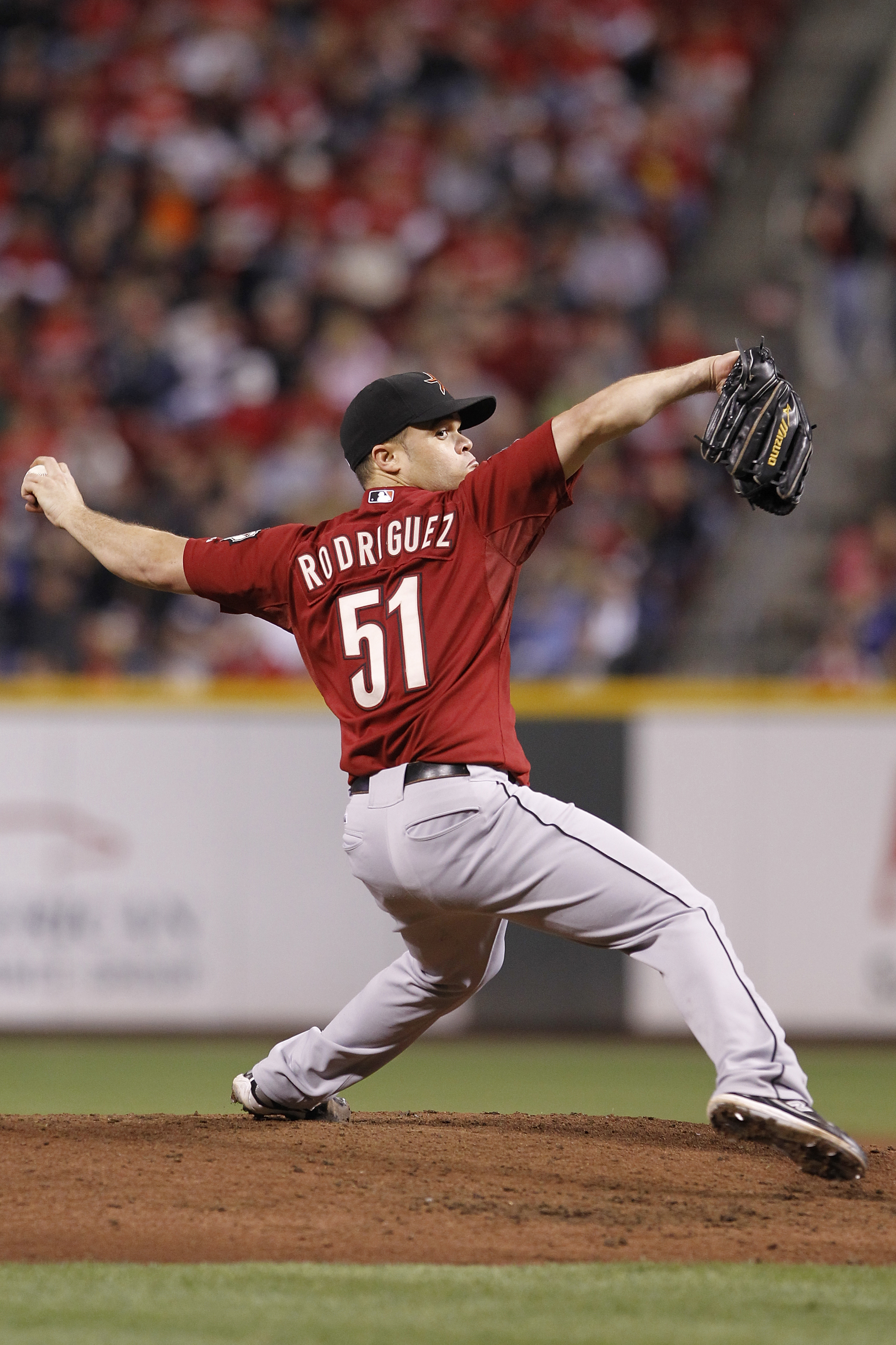 CINCINNATI, OH - SEPTEMBER 28: Wandy Rodriguez #51 of the Houston Astros pitches against the Cincinnati Reds at Great American Ball Park on September 28, 2010 in Cincinnati, Ohio. The Reds won 3-2 to clinch the NL Central Division title. (Photo by Joe Rob
