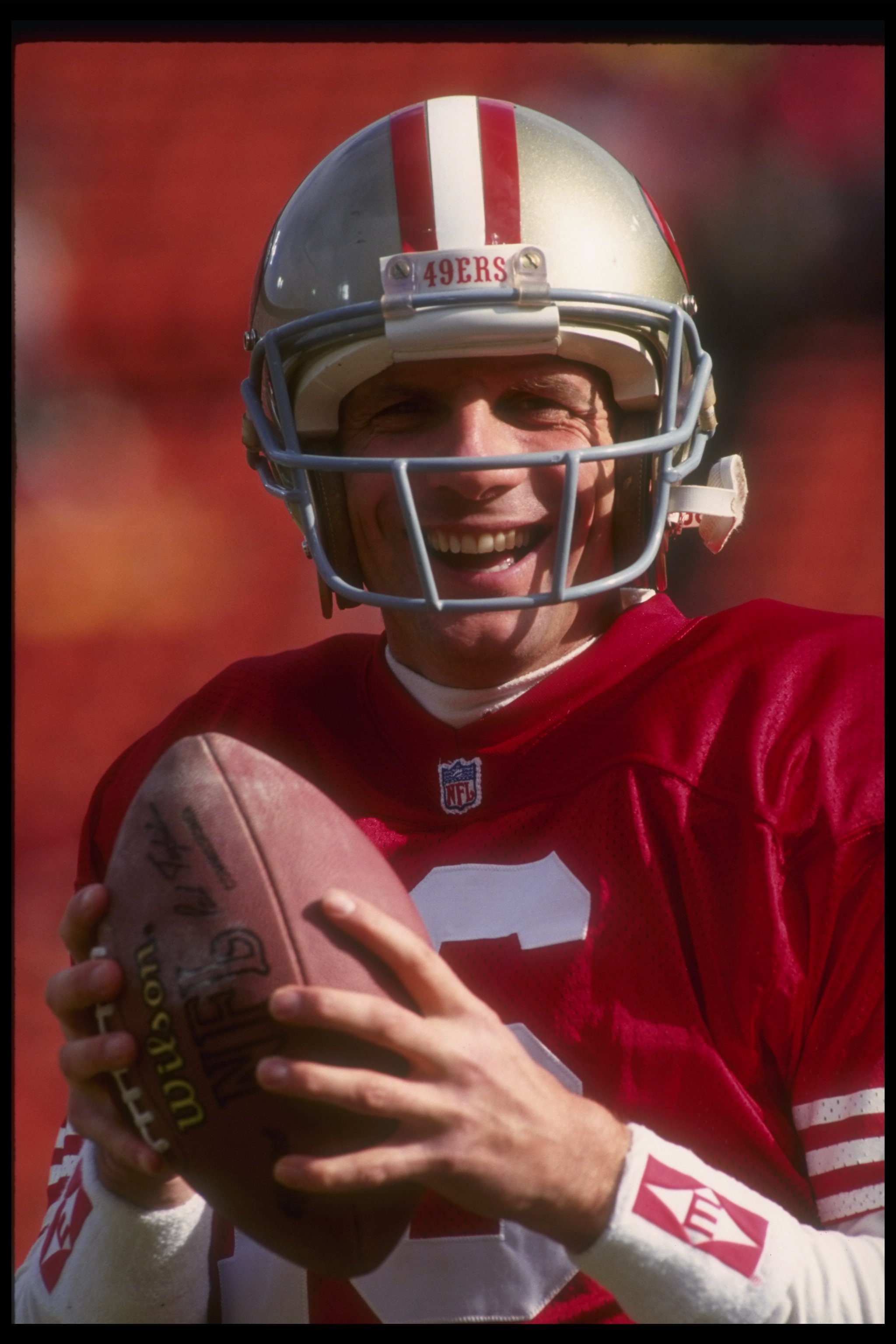9 Jan 1993: Quarterback Joe Montana of the San Francisco 49ers looks on during a playoff game against the Washington Redskins at Candlestick Park in San Francisco, California. The 49ers won the game, 20-13.