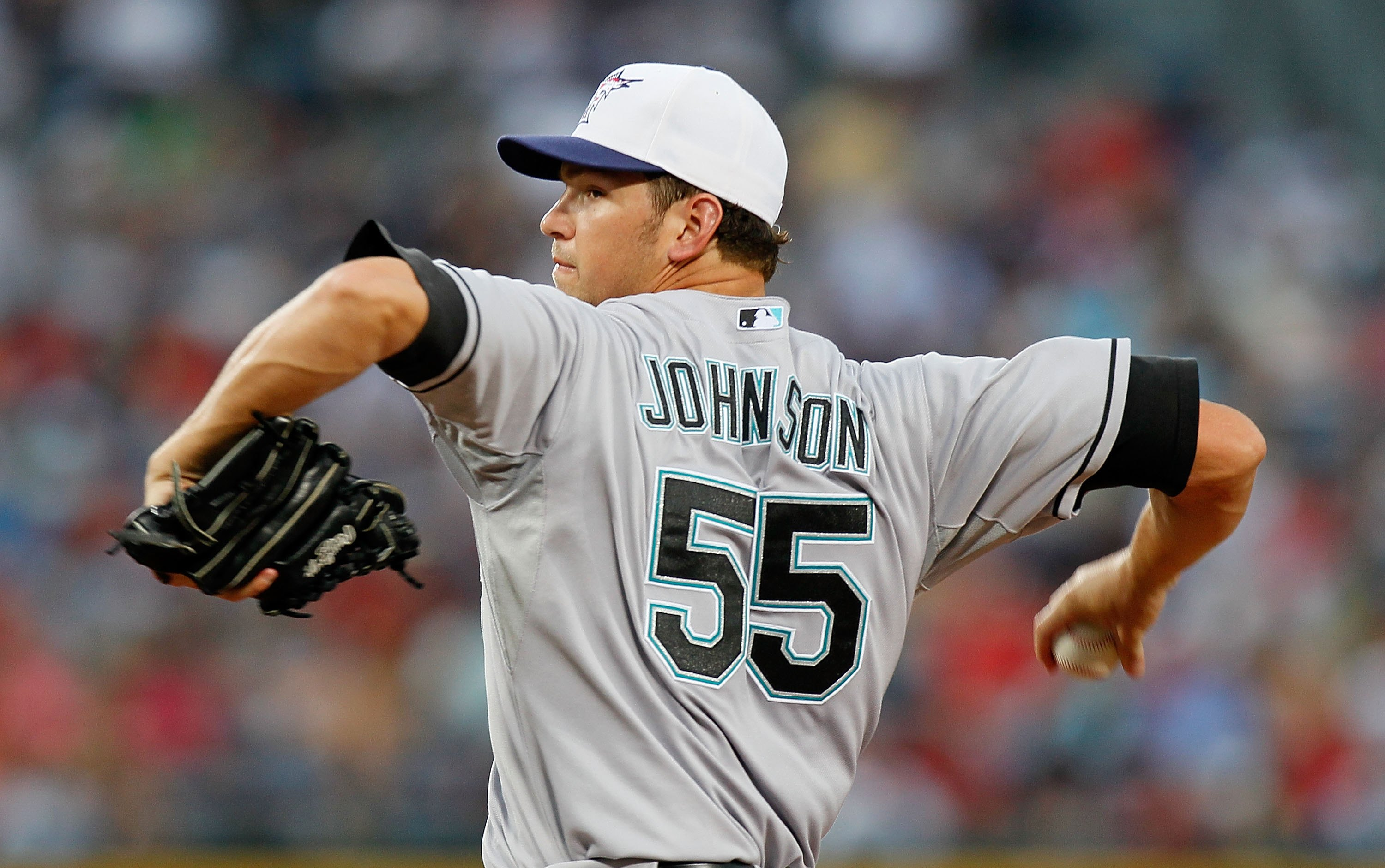ATLANTA - JULY 02:  Pitcher Josh Johnson #55 of the Florida Marlins against the Atlanta Braves at Turner Field on July 2, 2010 in Atlanta, Georgia.  (Photo by Kevin C. Cox/Getty Images)