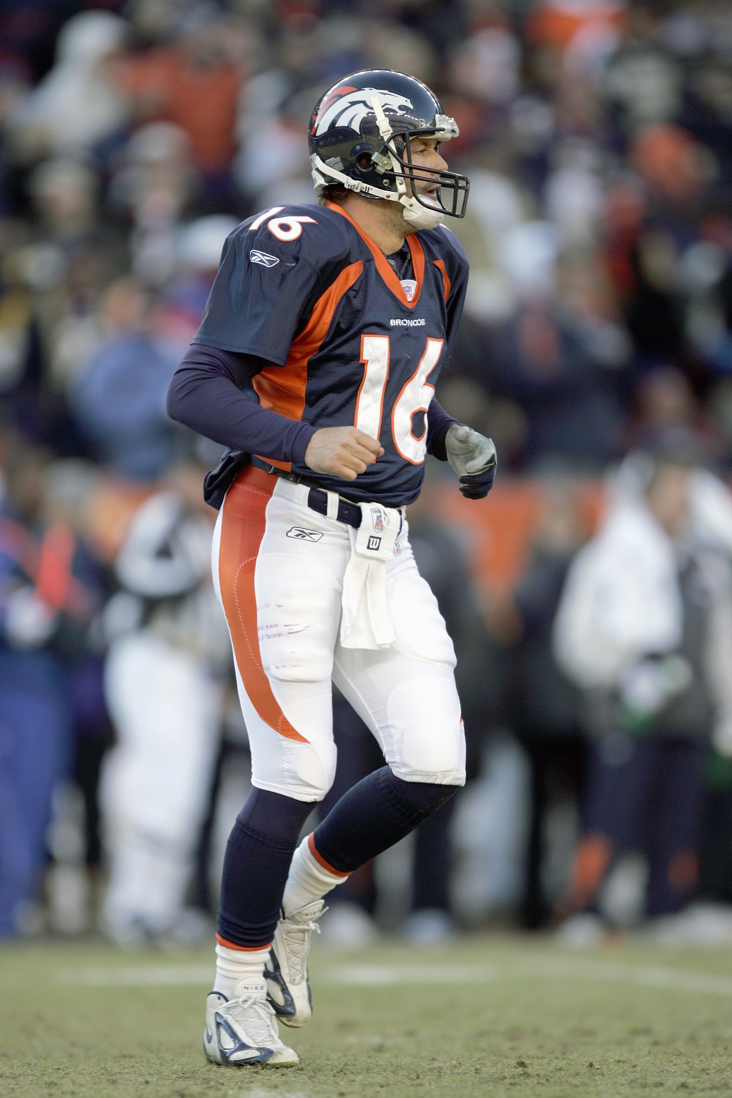DENVER - DECEMBER 31: Jake Plummer #16 of the Denver Broncos moves on the field during the game against the San Francisco 49ers at Invesco Field at Mile High on December 31, 2006 in Denver, Colorado. The 49ers won 26-23, eliminating the Broncos from the p