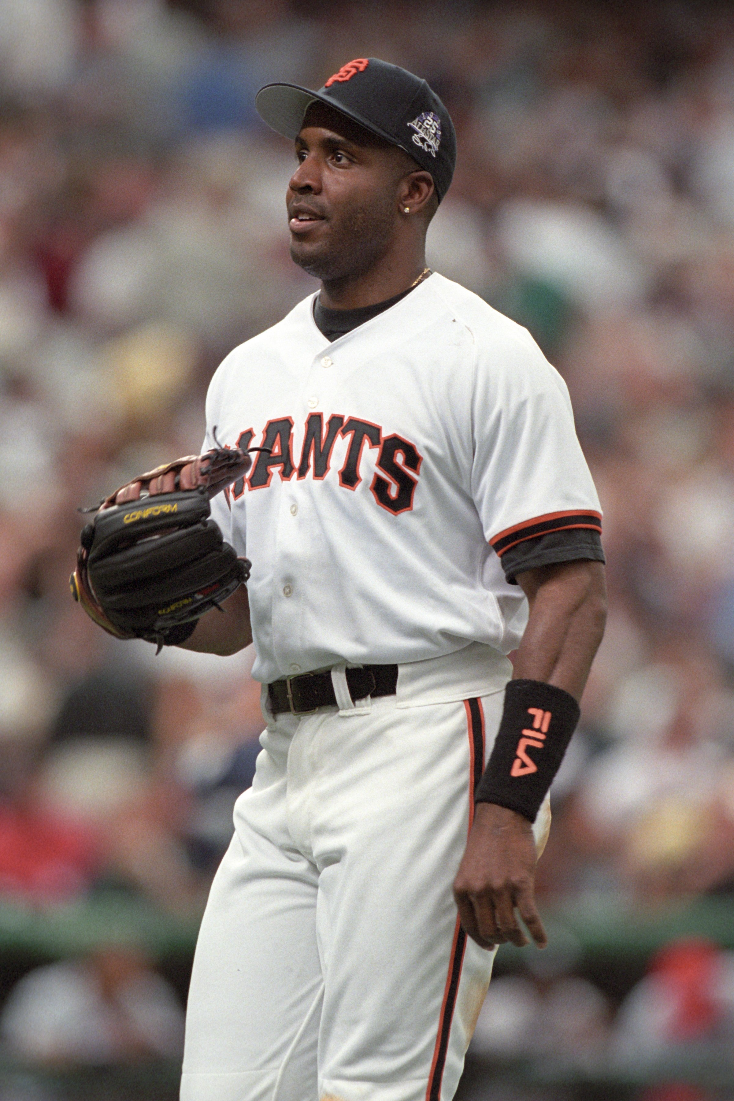DENVER - JULY 7:  Barry Bonds looks on during the 69th MLB All-Star Game at Coors Field on July 7, 1998 in Denver, Colorado. (Photo by Brian Bahr/Getty Images)