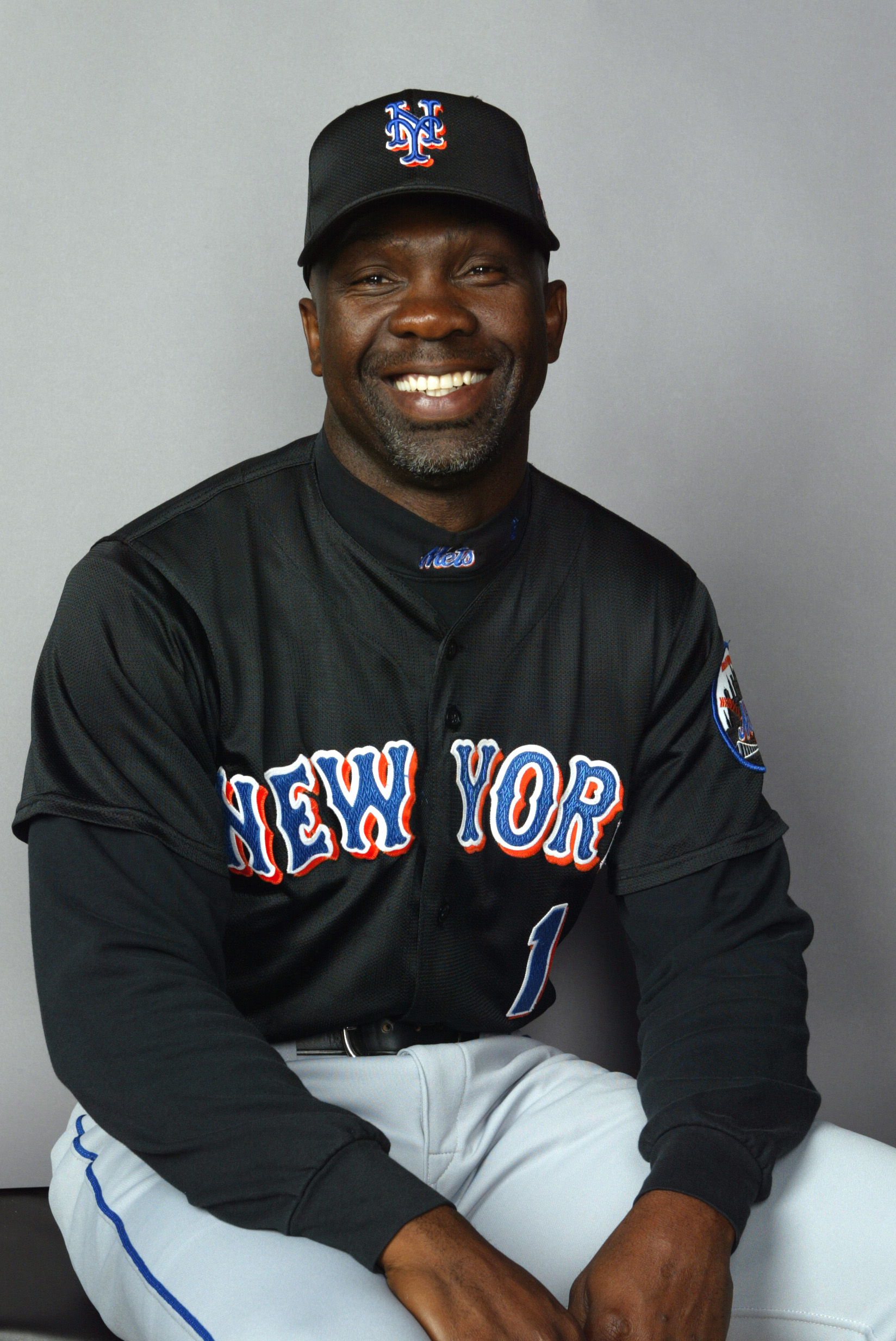 25 Feb 2002:  Coach Mookie Wilson # 1 of the New York Mets posses for Spring Training Picture Day at Thomas J. White Stadium in Port St. Lucie Florida. DIGITAL IMAGE. Mandatory Credit: Eliot Schechter/Getty Images