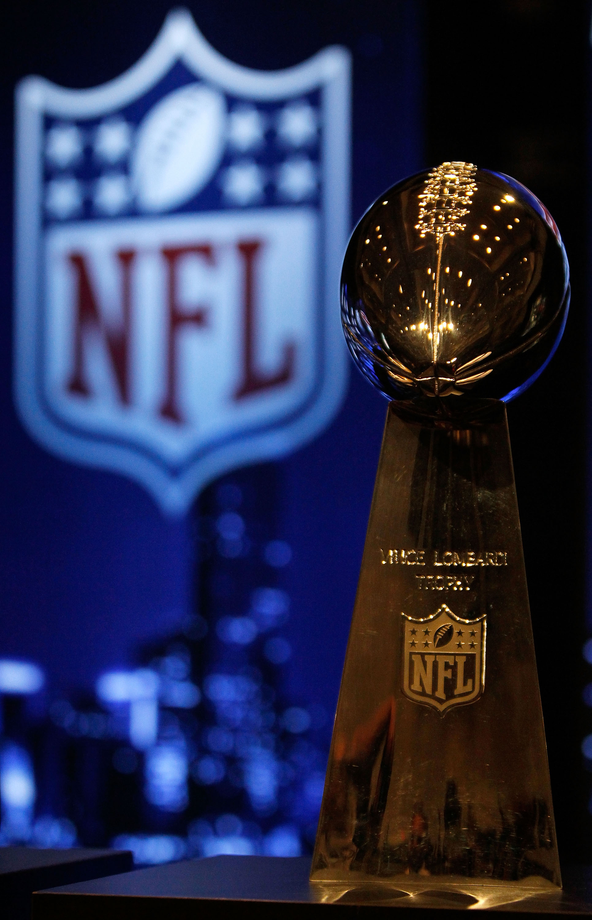 FORT LAUDERDALE, FL - FEBRUARY 05:  The Vince Lombardi Trophy is seen during the NFL Commissioner Press Conference held at the Greater Ft. Lauderdale/Broward County Convention Center as part of media week for Super Bowl XLIV on February 5, 2010 in Fort La