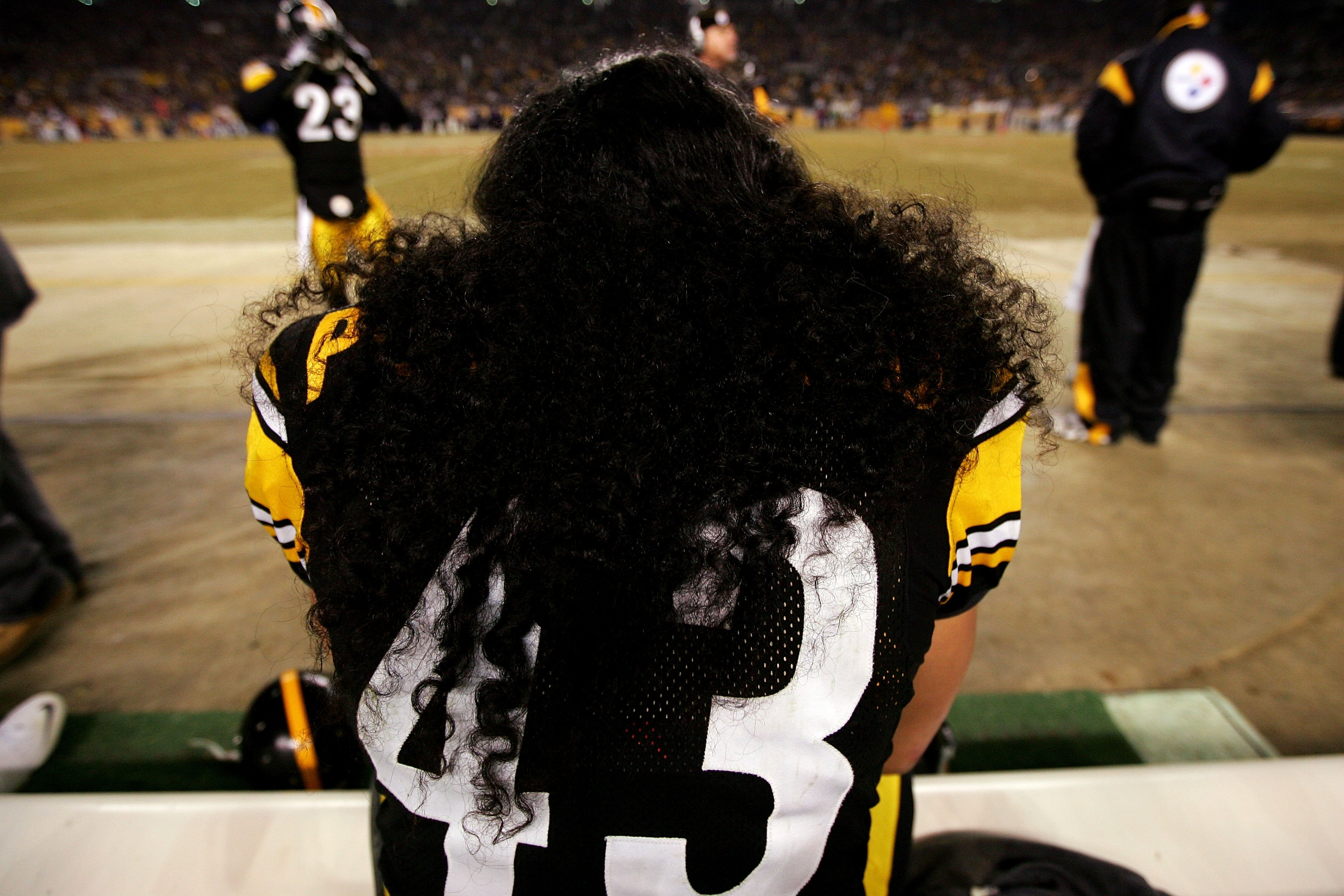PITTSBURGH - JANUARY 18:  A detail of the hair of Troy Polamalu #43 of of the Pittsburgh Steelers against the Baltimore Ravens during the AFC Championship game on January 18, 2009 at Heinz Field in Pittsburgh, Pennsylvania.  (Photo by Al Bello/Getty Image