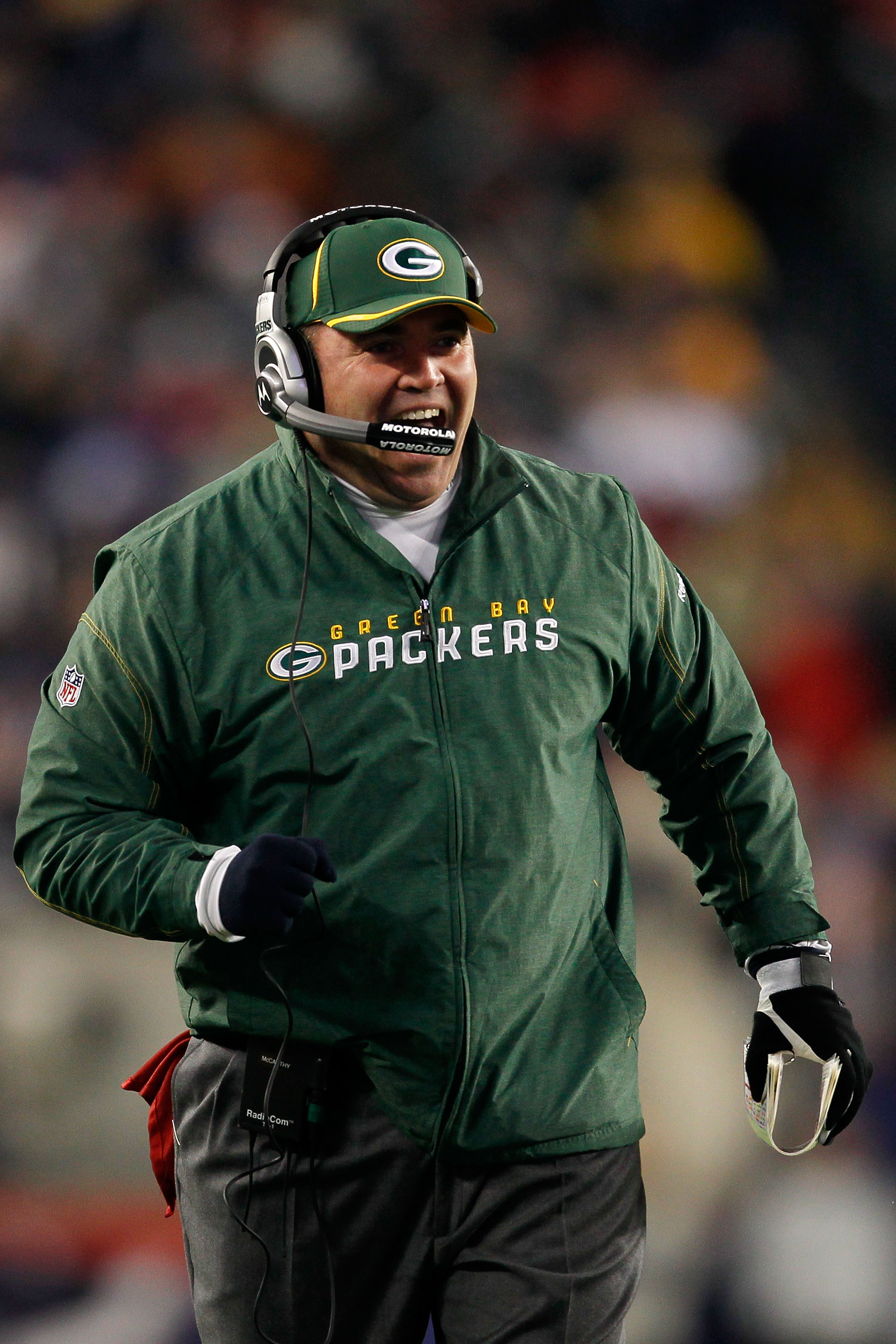 FOXBORO, MA - DECEMBER 19:  Mike McCarthy, head coach of the Green Bay Packers, reacts during the third quarter of the game against the New England Patriots at Gillette Stadium on December 19, 2010 in Foxboro, Massachusetts.  (Photo by Jim Rogash/Getty Im