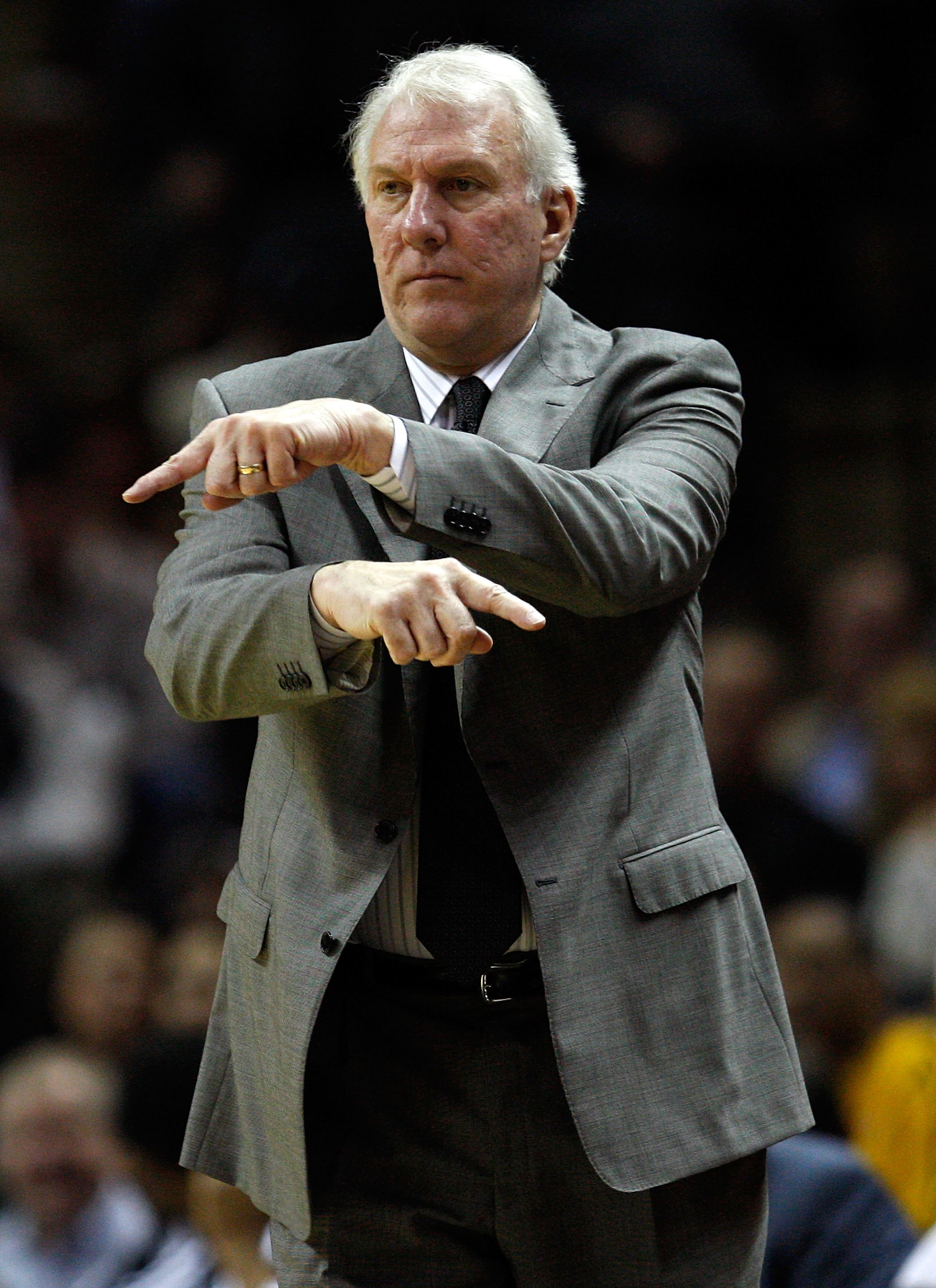 SAN ANTONIO - JANUARY 12:  Head coach Gregg Popovich of the San Antonio Spurs on January 12, 2010 at AT&T Center in San Antonio, Texas.  NOTE TO USER: User expressly acknowledges and agrees that, by downloading and/or using this Photograph, user is consen