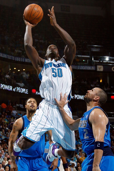 NEW ORLEANS - NOVEMBER 17:  Emeka Okafor #50 of the New Orleans Hornets shoots the ball over Jason Kidd #2 of the Dallas Mavericks at the New Orleans Arena on November 17, 2010 in New Orleans, Louisiana.  NOTE TO USER: User expressly acknowledges and agre