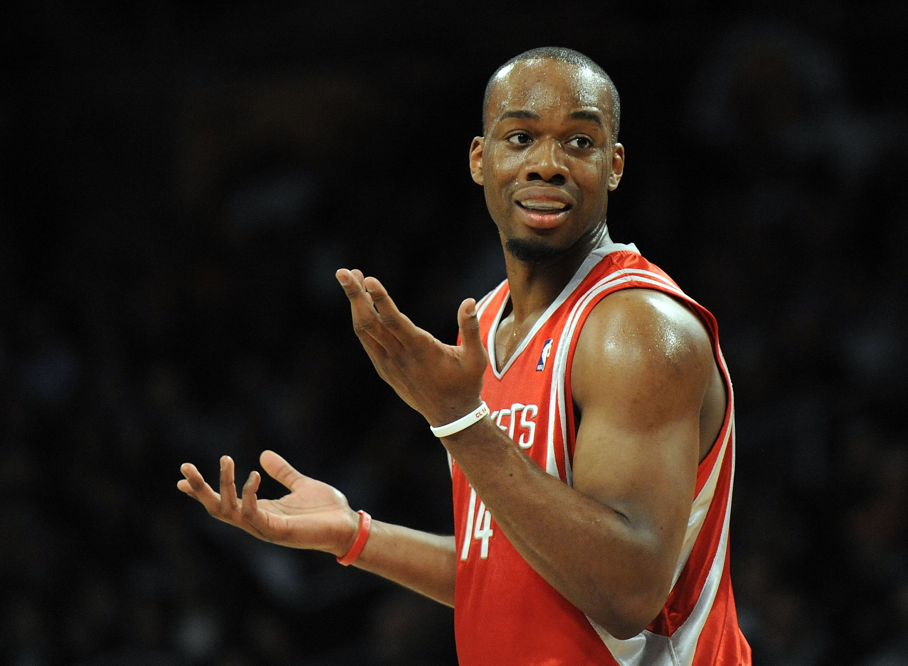 LOS ANGELES, CA - JANUARY 05:  Carl Landry #14 of the Houston Rockets complains about a foul against the Los Angeles Lakers during the first half at Staples Center on January 5, 2010 in Los Angeles, California.  NOTE TO USER: User expressly acknowledges a