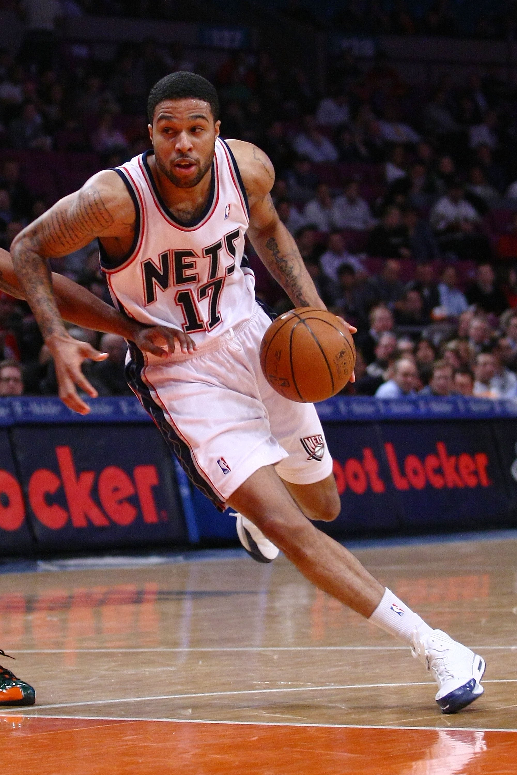 NEW YORK - MARCH 18:  Chris Douglas-Roberts #17 of the New Jersey Nets drives against the New York Knicks at Madison Square Garden March 18, 2009 in New York City. NOTE TO USER: User expressly acknowledges and agrees that, by downloading and/or using this
