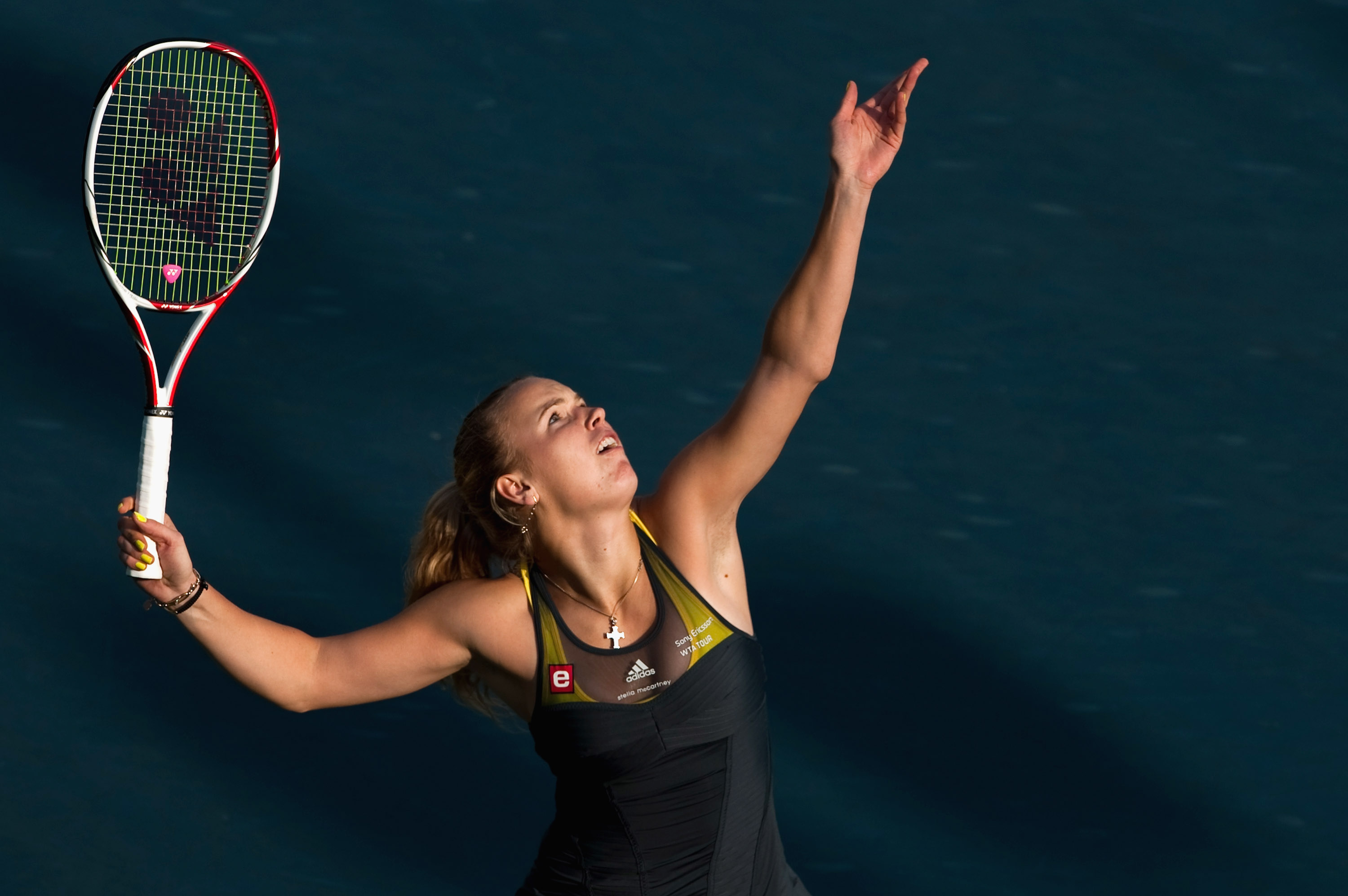 HONG KONG - JANUARY 08:  Caroline Wozniacki of Denmark serves during her match against Vera Zvonareva of Russia during day four of the Hong Kong Tennis Classic 2011 on January 8, 2011 in Hong Kong, China.  (Photo by Victor Fraile/Getty Images)
