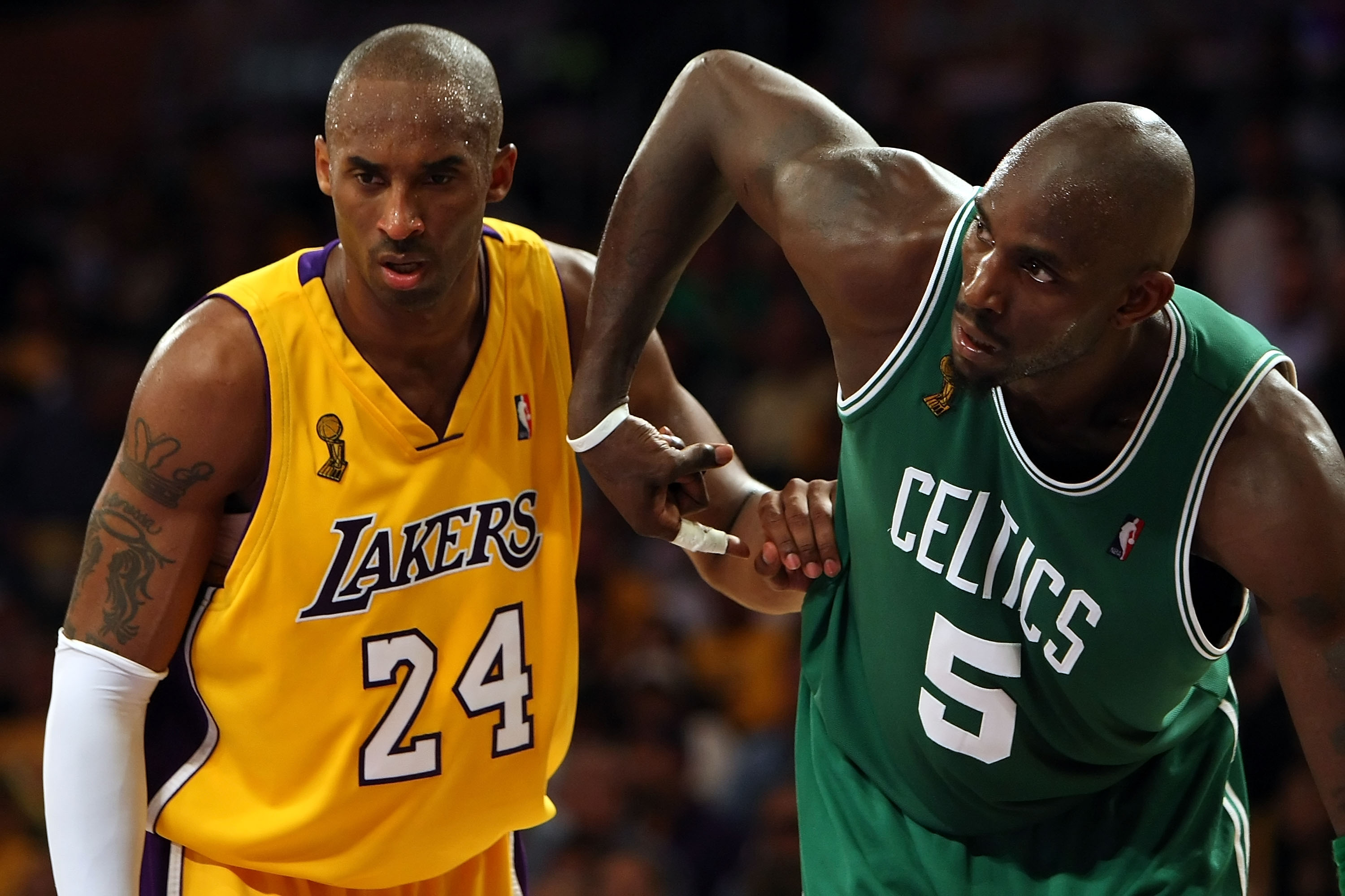 LOS ANGELES, CA - JUNE 10:  Kobe Bryant #24 of the Los Angeles Lakers puts his arm on Kevin Garnett #5 of the Boston Celtics in Game Three of the 2008 NBA Finals on June 10, 2008 at Staples Center in Los Angeles, California. NOTE TO USER: User expressly a