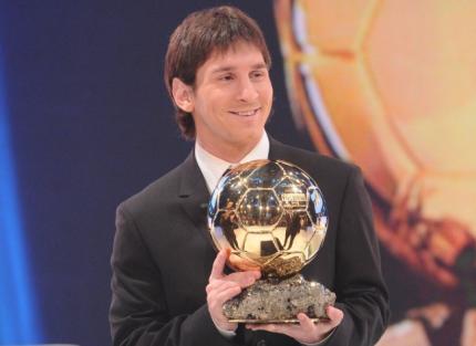 Messi recieves FIFA Ballon D'Or 2010