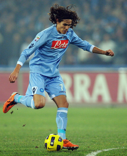 NAPLES, ITALY - JANUARY 15:  Edinson Cavani of Napoi in action during the Serie A match between Napoli and Fiorentina at Stadio San Paolo on January 15, 2011 in Naples, Italy.  (Photo by Giuseppe Bellini/Getty Images)