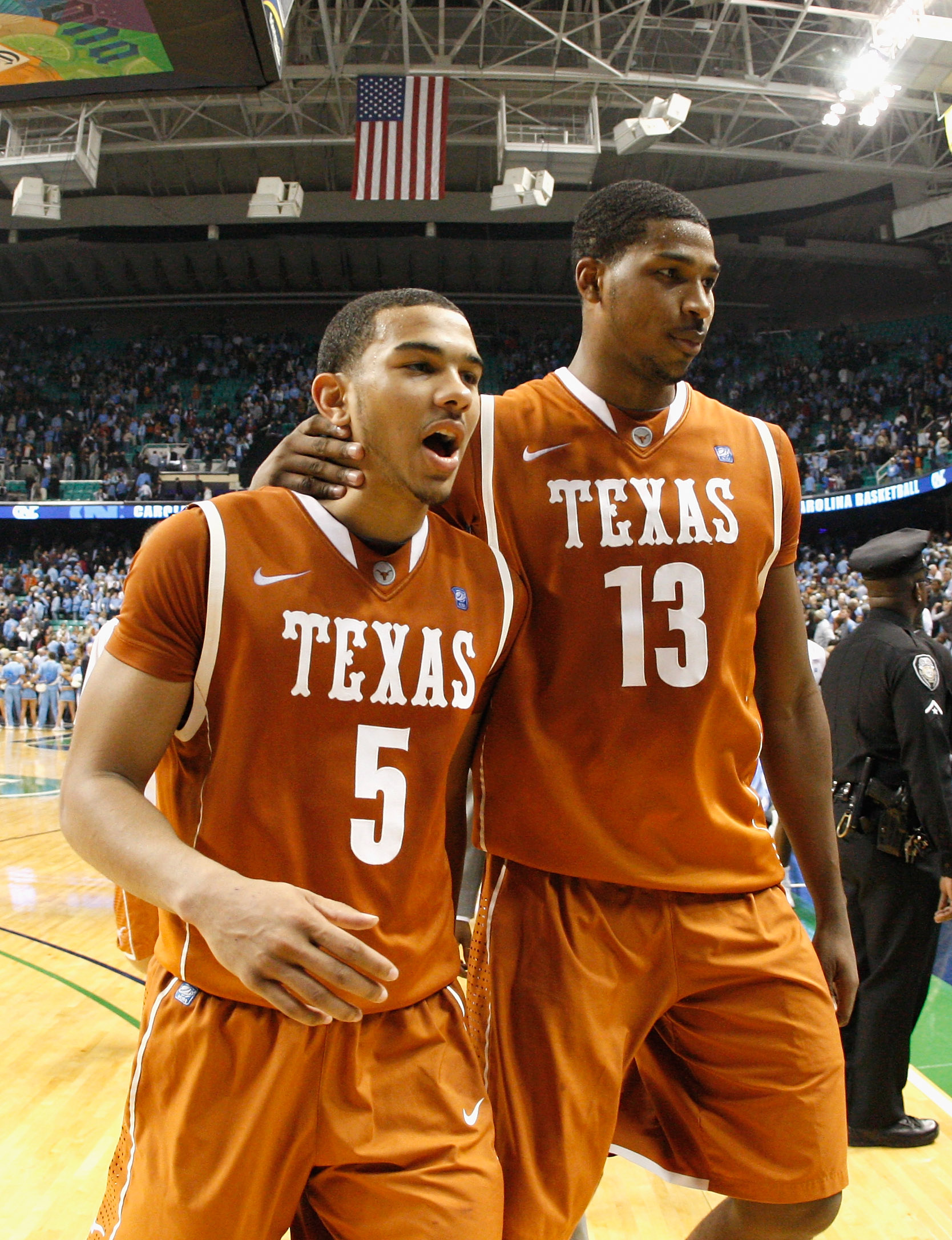 GREENSBORO, NC - DECEMBER 18:  Cory Joseph #5 and Tristan Thompson #13 of the Texas Longhorns react after their 78-76 win over the North Carolina Tar Heels Greensboro Coliseum on December 18, 2010 in Greensboro, North Carolina.  (Photo by Kevin C. Cox/Get