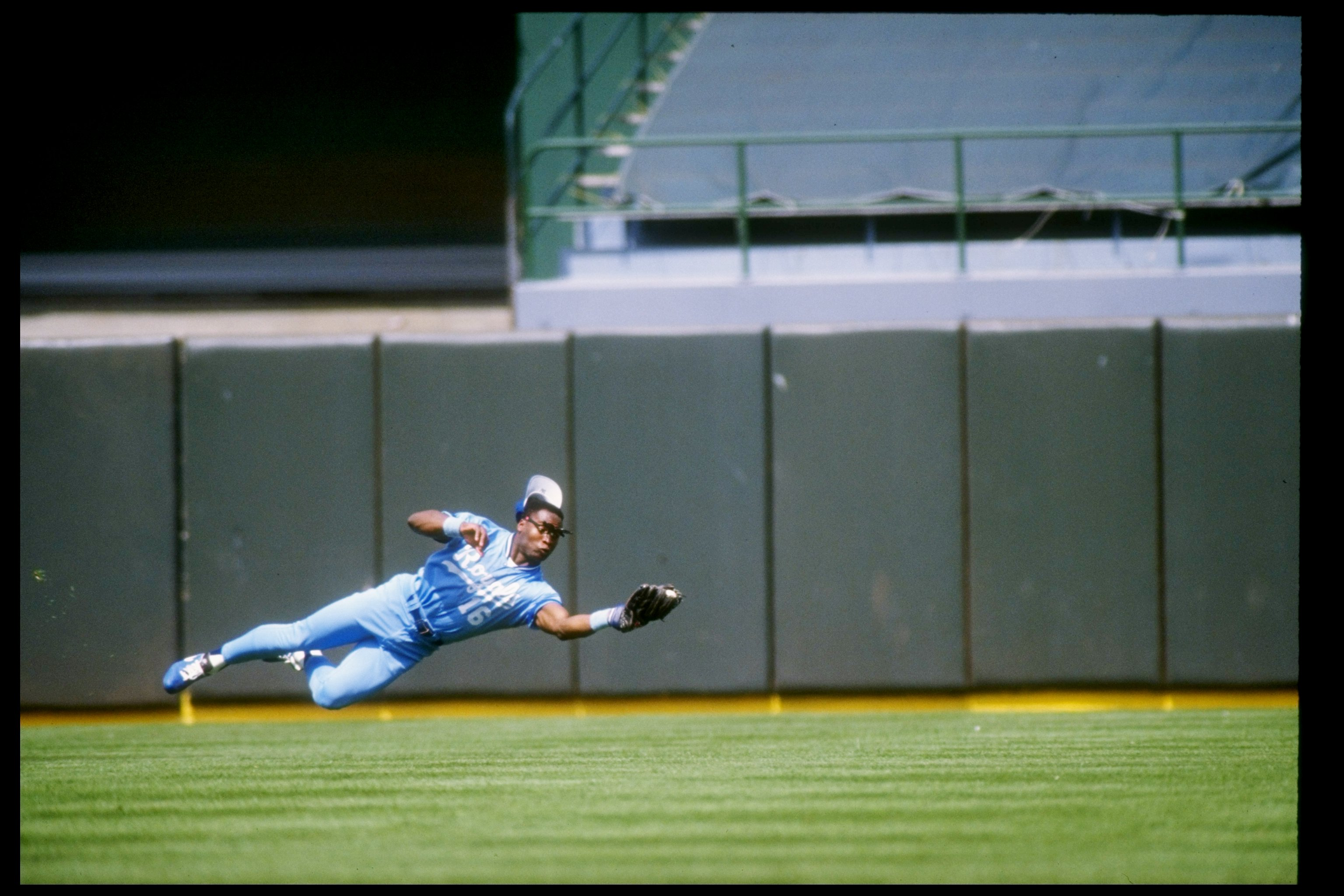 American professional athlete Bo Jackson of the Kansas City Royals in action during an away game, 1990.  Mandatory Credit: Otto Greule  /Allsport