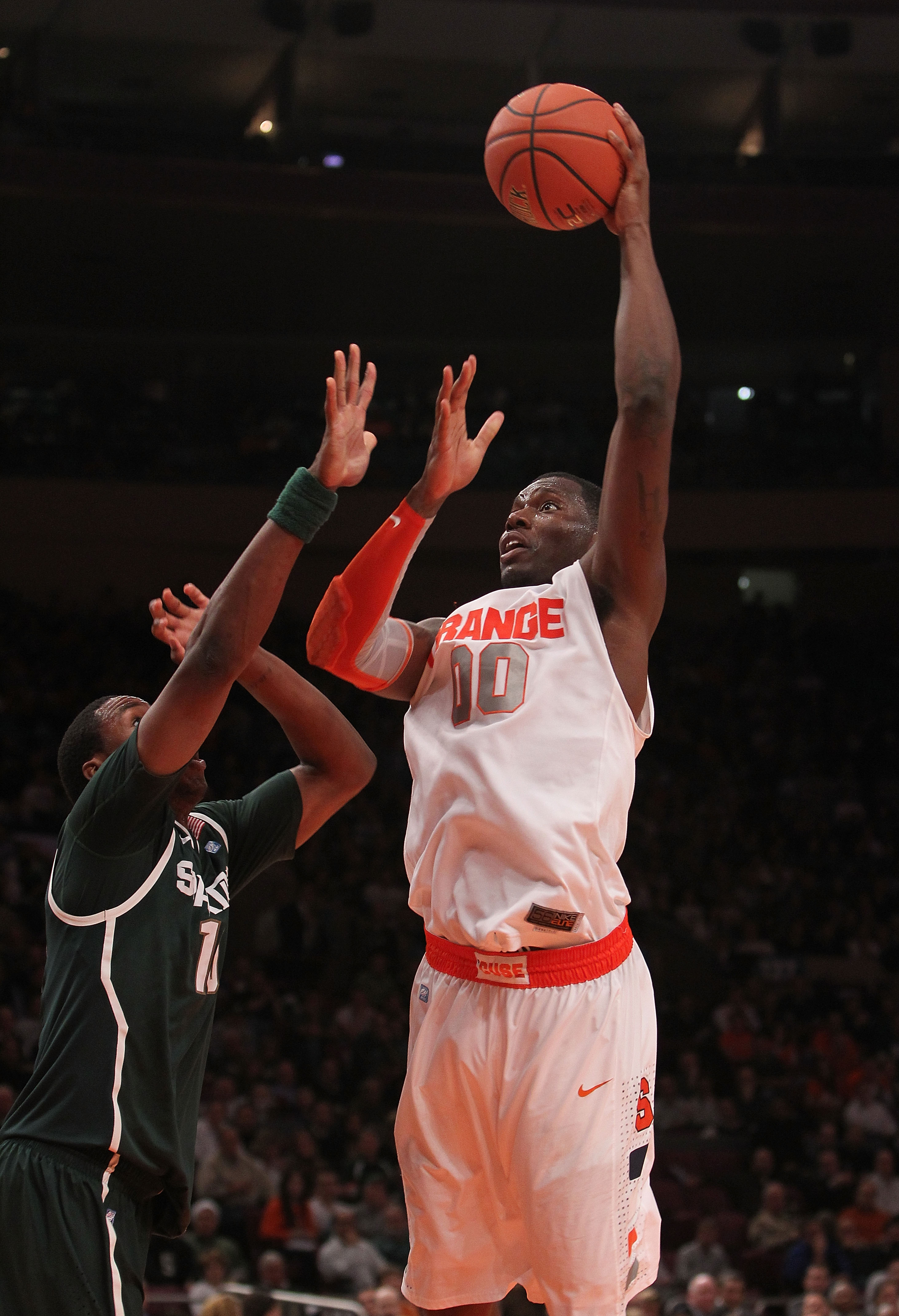 NEW YORK, NY - DECEMBER 07:  Rick Jackson #00 of Syracuse Orange shoots the ball against the Michigan State Spartans during their game at the Jimmy V Classic at Madison Square Garden on December 7, 2010 in New York City.  (Photo by Nick Laham/Getty Images