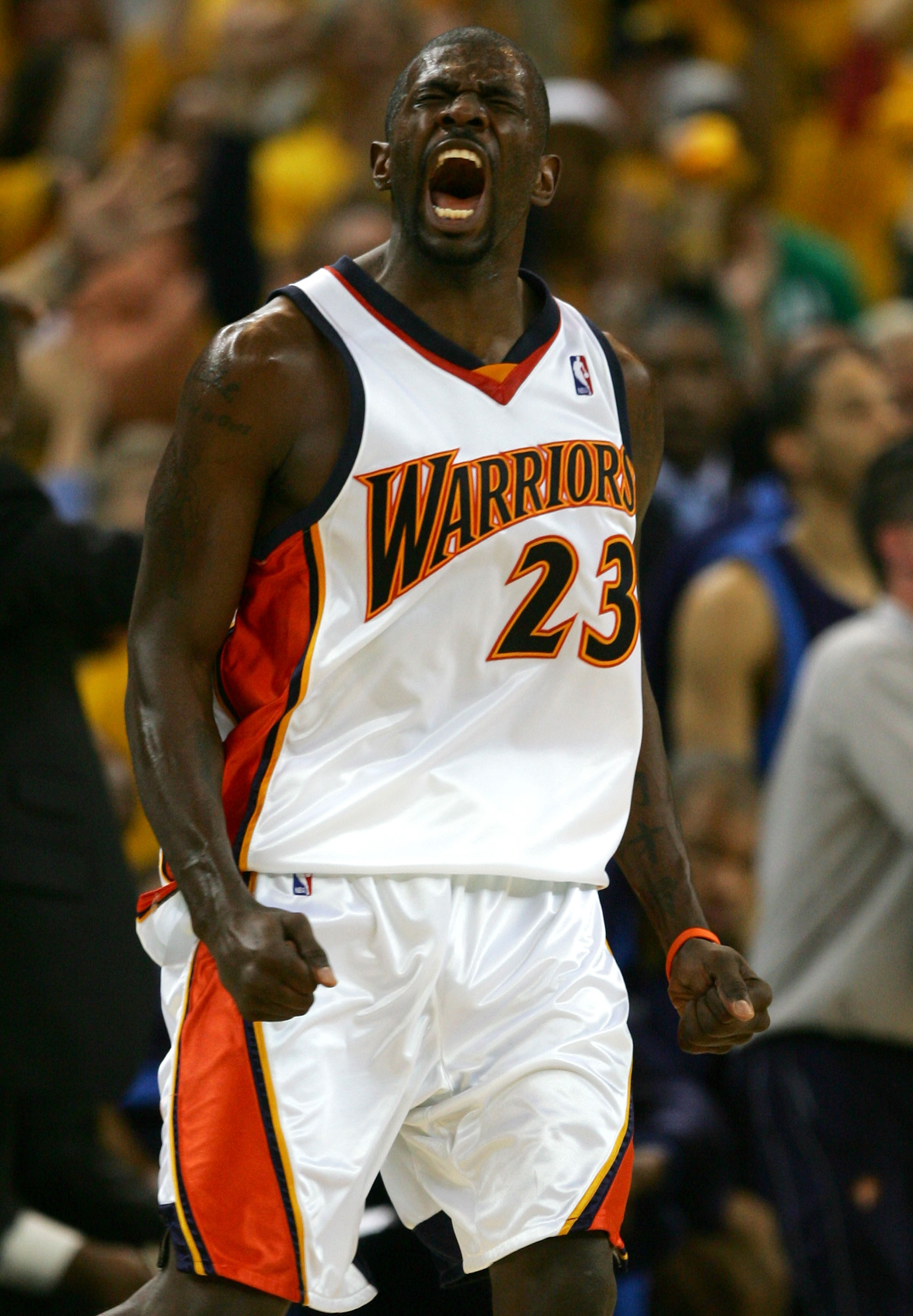 OAKLAND, CA - MAY 03:  Jason Richardson #23 of the Golden State Warriors celebrates after hitting a three pointer against the Dallas Mavericks in Game 6 of the Western Conference Quarterfinals during the 2007 NBA Playoffs on May 3, 2007 at Oracle Arena in