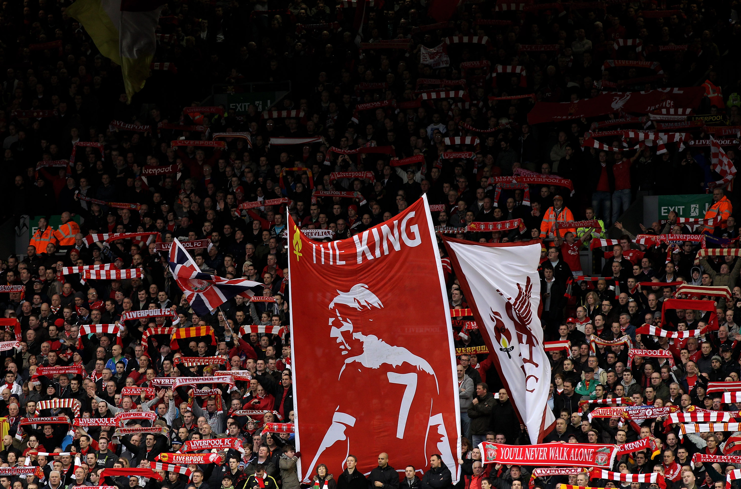 LIVERPOOL, ENGLAND - JANUARY 16:  The Kop display a banner honouring Liverpool Manager Kenny Dalglish prior to the Barclays Premier League match between Liverpool and Everton at Anfield on January 16, 2011 in Liverpool, England. (Photo by Alex Livesey /Ge