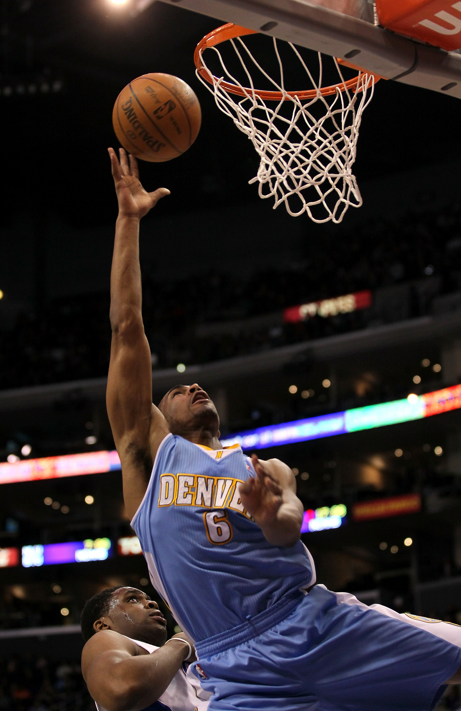 LOS ANGELES, CA - JANUARY 05:  Arron Afflalo #6 of the Denver Nuggets shoots against the Los Angeles Clippers at Staples Center on January 5, 2011  in Los Angeles, California.  The Clippers won 106-93.  NOTE TO USER: User expressly acknowledges and agrees
