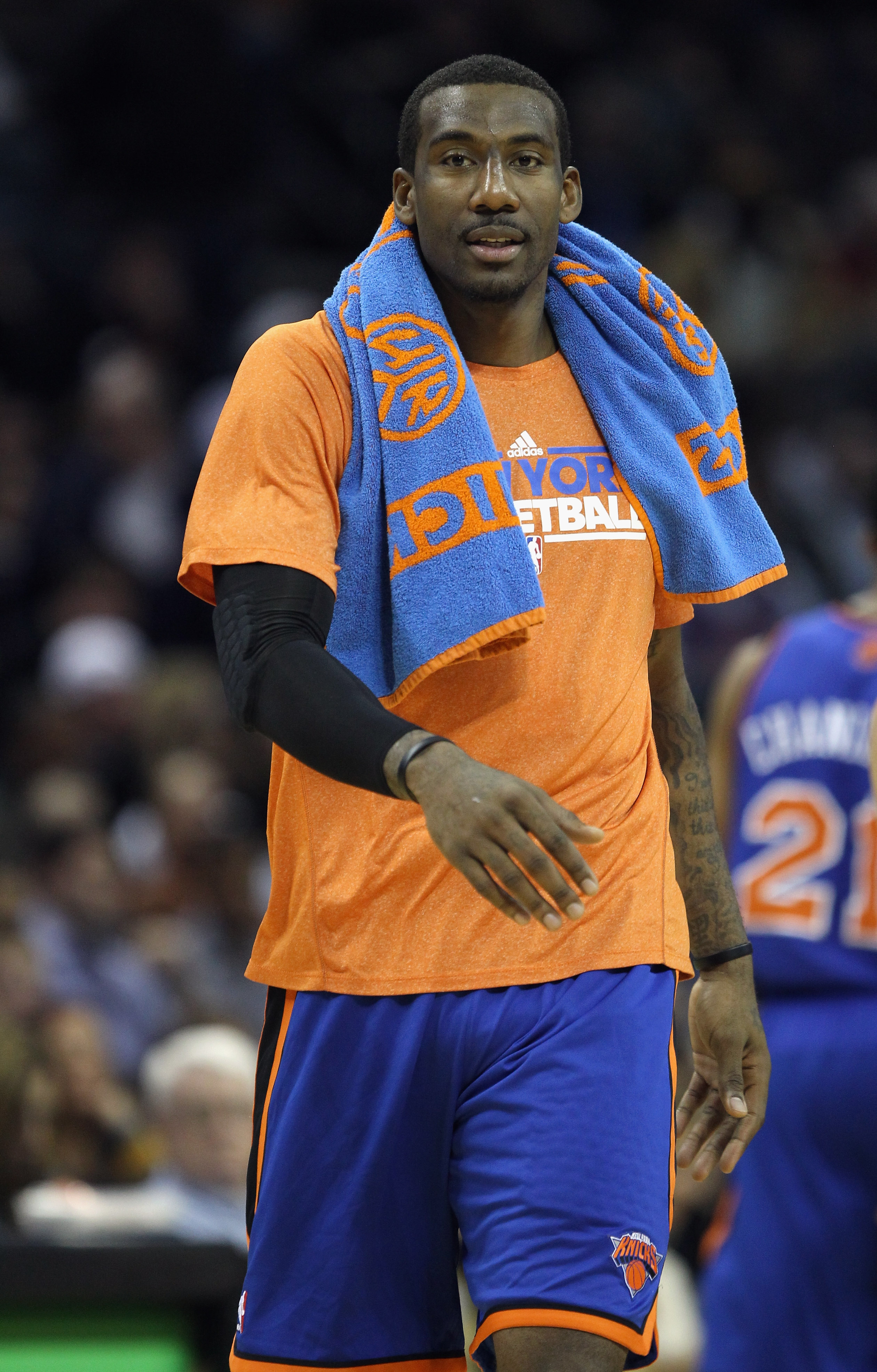 CHARLOTTE, NC - NOVEMBER 24:  Amare Stoudemire #1 of the New York Knicks supports his teammates as he walks on the court during his game against the Charlotte Bobcats at Time Warner Cable Arena on November 24, 2010 in Charlotte, North Carolina.  NOTE TO U