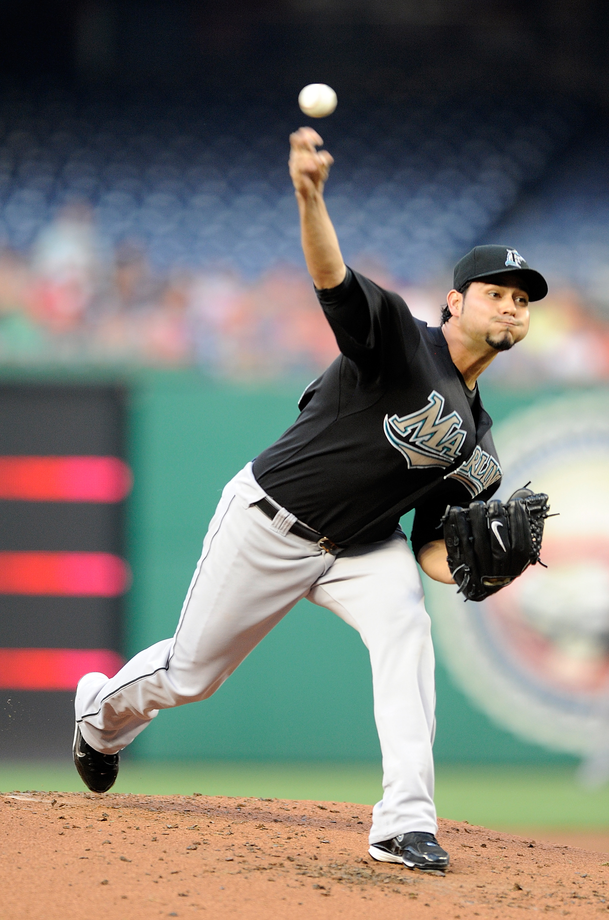 WASHINGTON - AUGUST 10:  Anibal Sanchez #19 of the Florida Marlins pitches against the Washington Nationals at Nationals Park on August 10, 2010 in Washington, DC.  (Photo by Greg Fiume/Getty Images)
