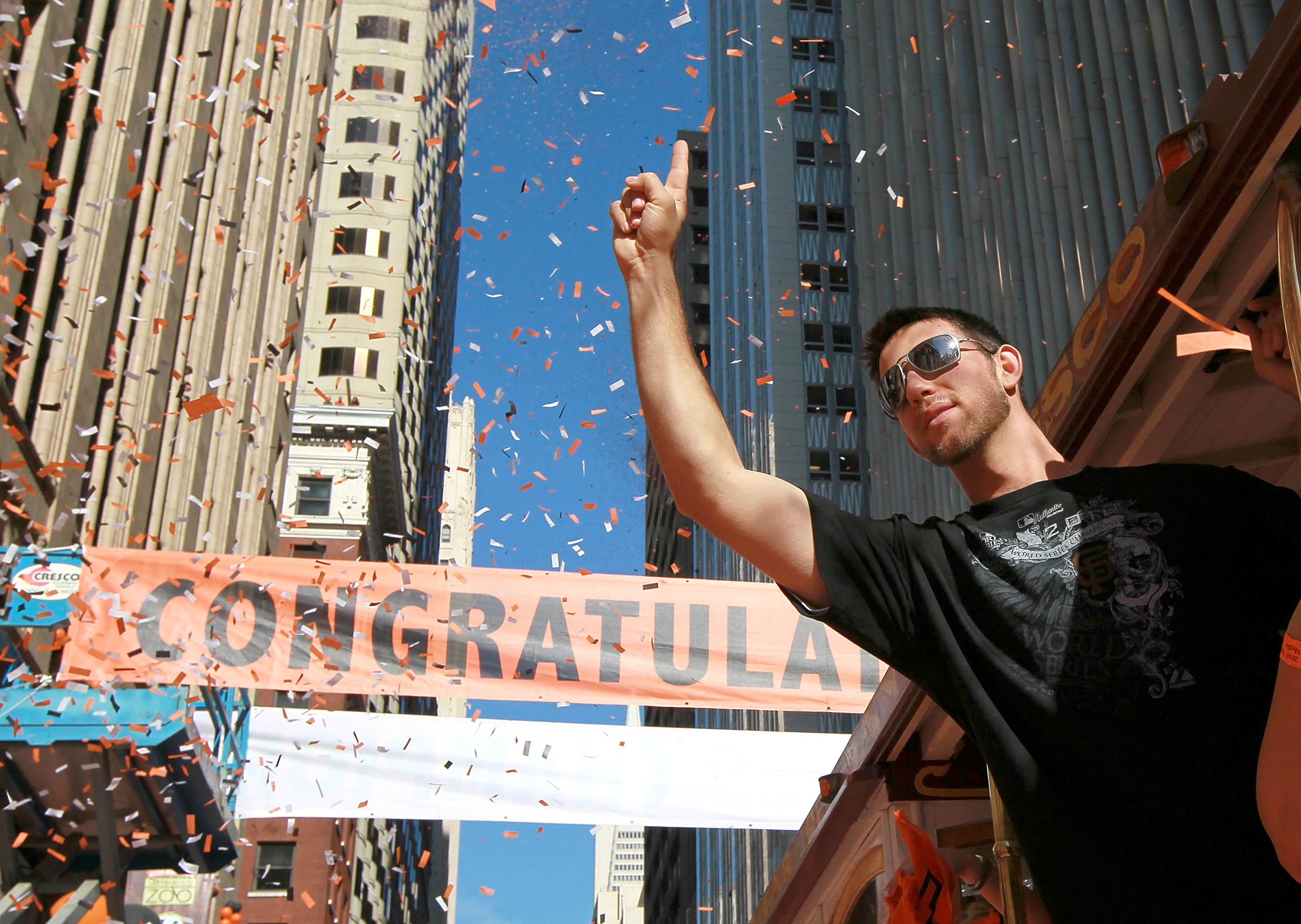 SAN FRANCISCO - NOVEMBER 03:  Madison Bumgarner of the San Francisco Giants celebrates during the Giants' vicotry parade on November 3, 2010 in San Francisco, California. Thousands of Giants fans lined the streets of San Francisco to watch the San Francis