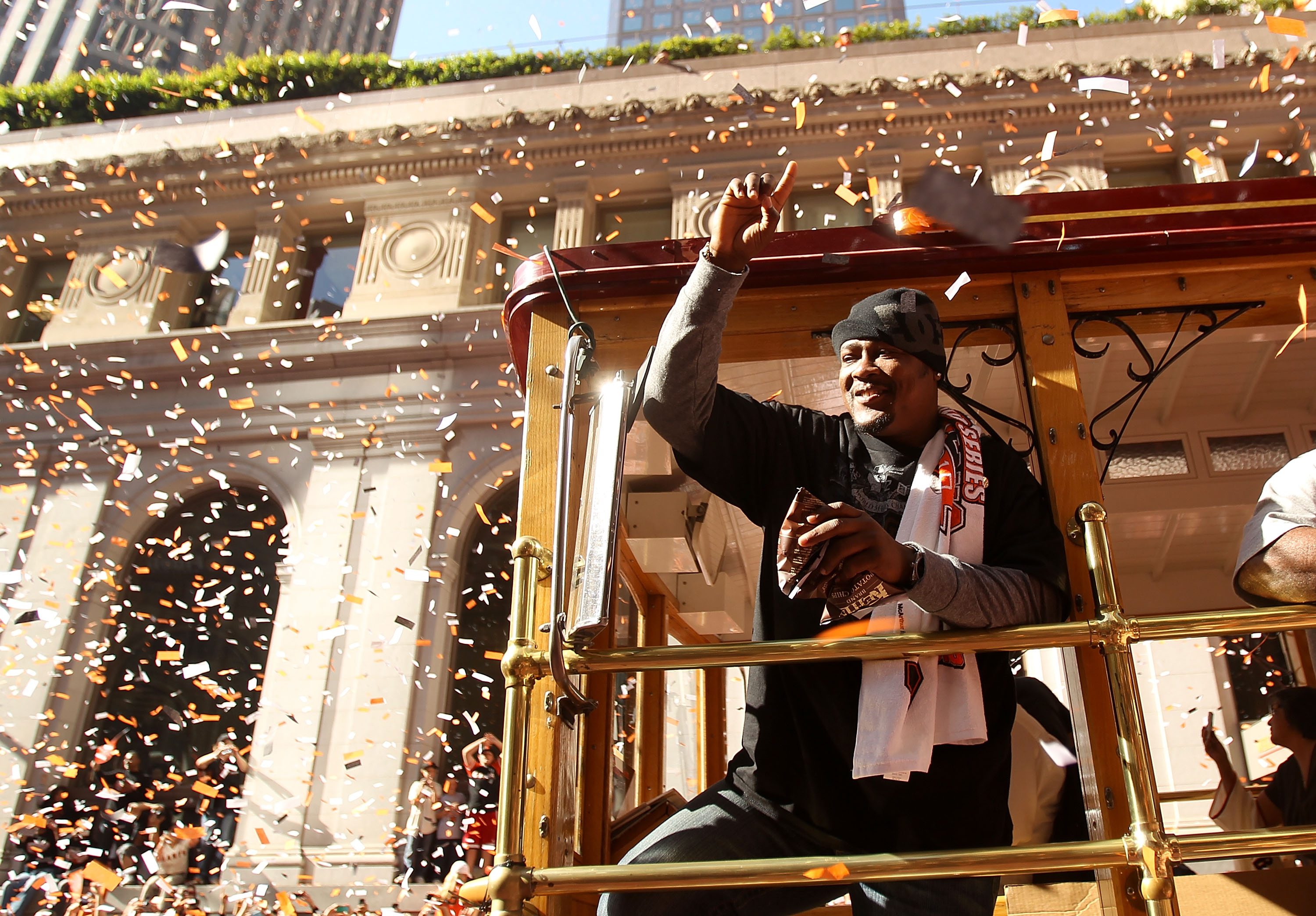 SAN FRANCISCO - NOVEMBER 03:  Juan Uribe of the San Francisco Giants waves to the crowd during the San Francisco Giants victory parade on November 3, 2010 in San Francisco, California.  (Photo by Ezra Shaw/Getty Images)