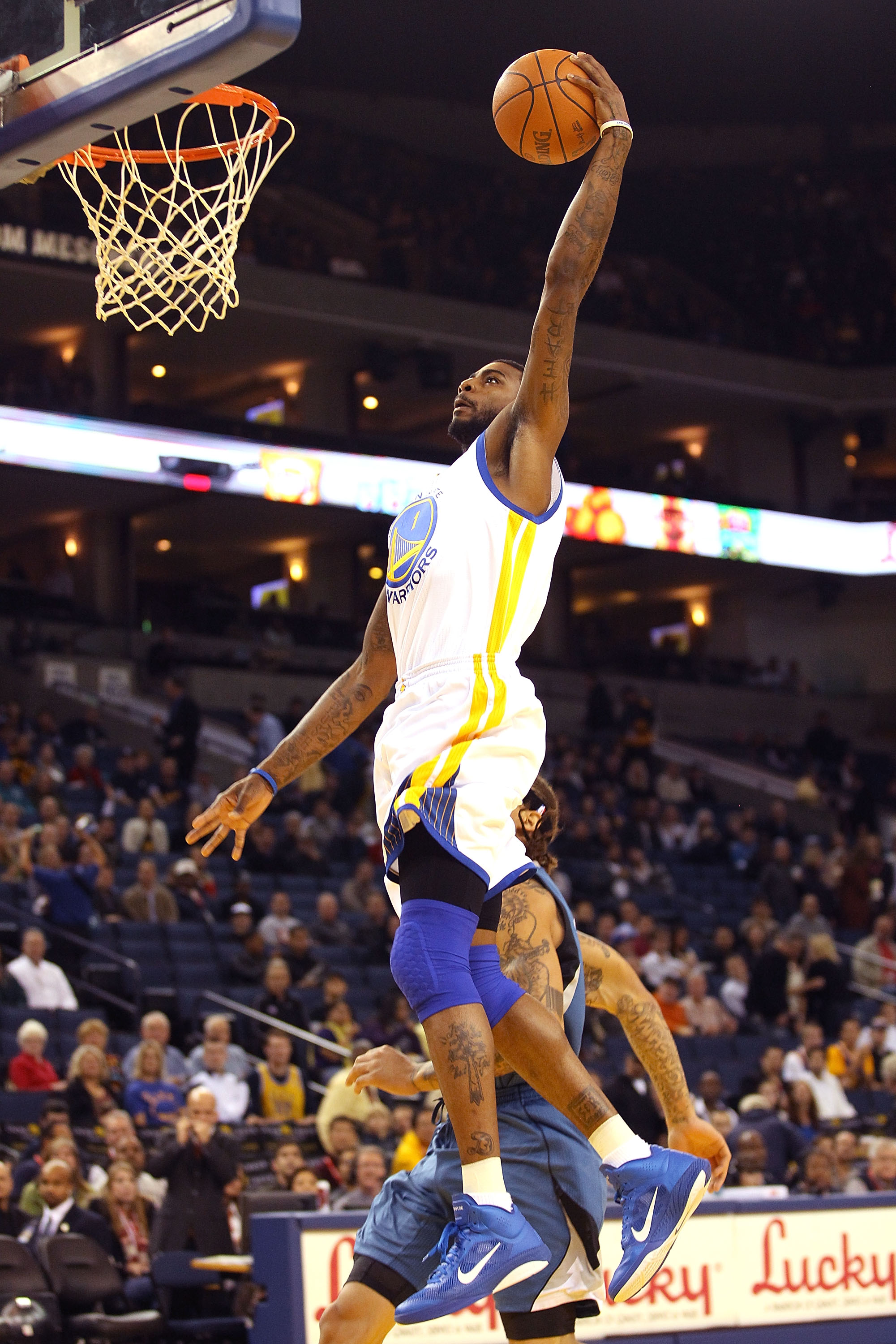 OAKLAND, CA - DECEMBER 14:  Dorell Wright #1 of the Golden State Warriors goes up for a dunk against  the Minnesota Timberwolves at Oracle Arena on December 14, 2010 in Oakland, California.  NOTE TO USER: User expressly acknowledges and agrees that, by do