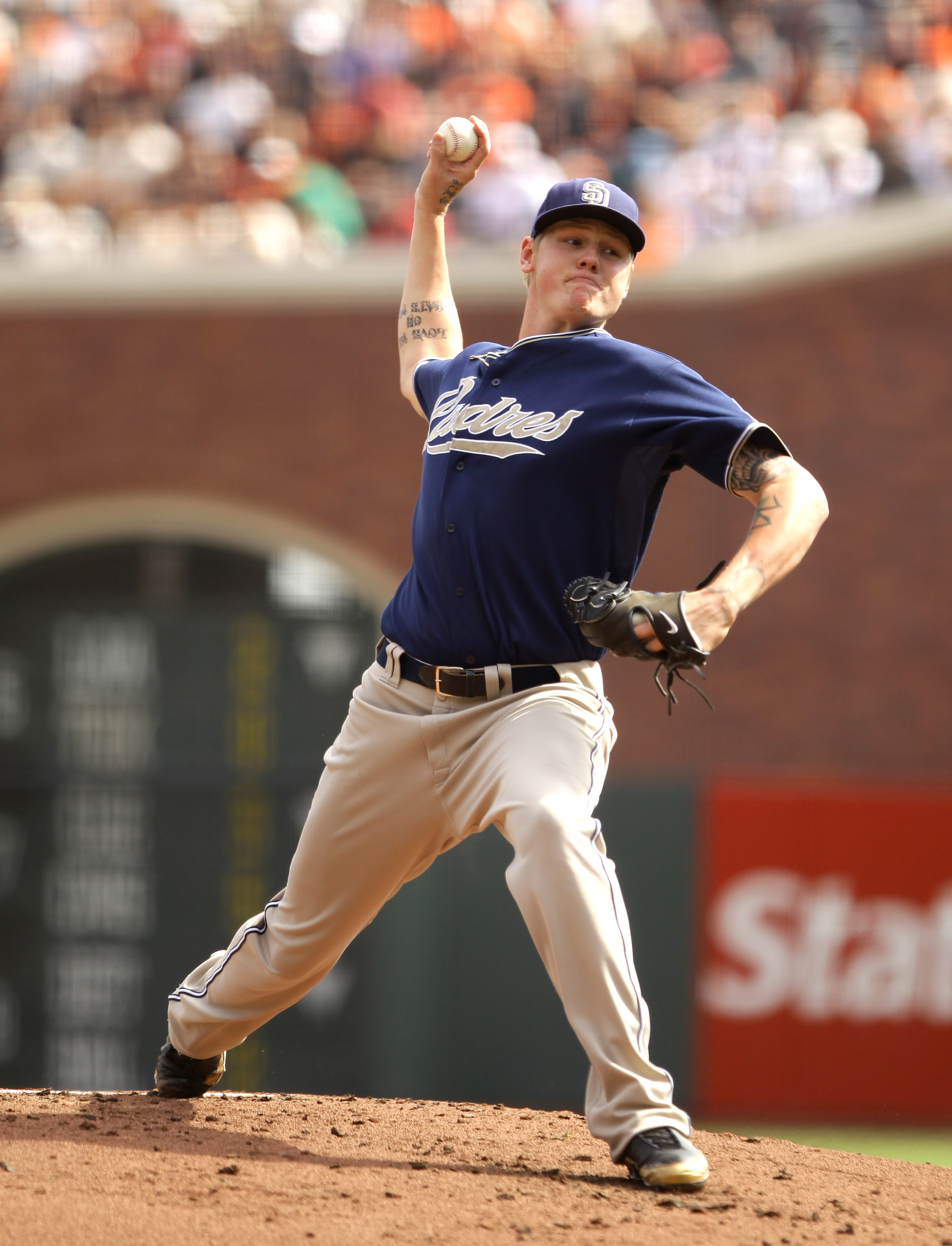 SAN FRANCISCO - OCTOBER 03:  Matt Latos #38 of the San Diego Padres pitches against the San Francisco Giants at AT&T Park on October 3, 2010 in San Francisco, California.  (Photo by Ezra Shaw/Getty Images)