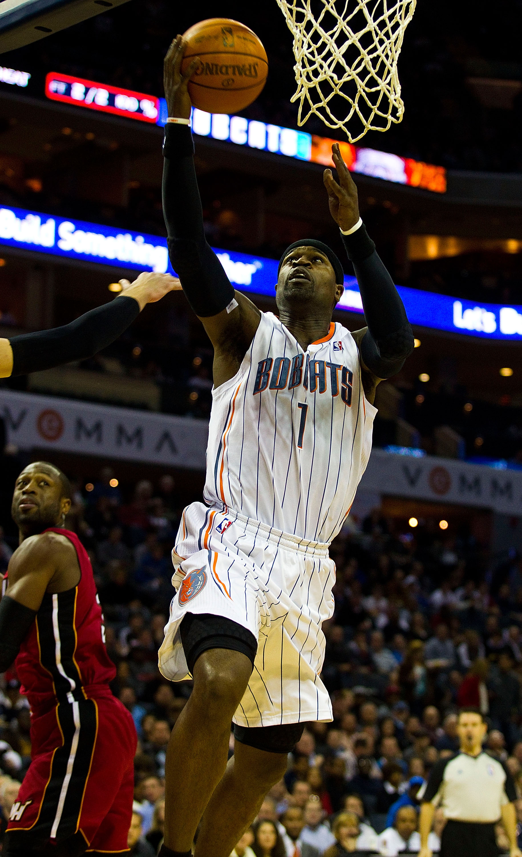 CHARLOTTE, NC - JANUARY 03: Stephen Jackson #1 of the Charlotte Bobcats drives to the basket against the Miami Heat at Time Warner Cable Arena on January 3, 2011 in Charlotte, North Carolina.  The Heat defeated the Bobcats 96-82.  (Photo by Brian A. Weste