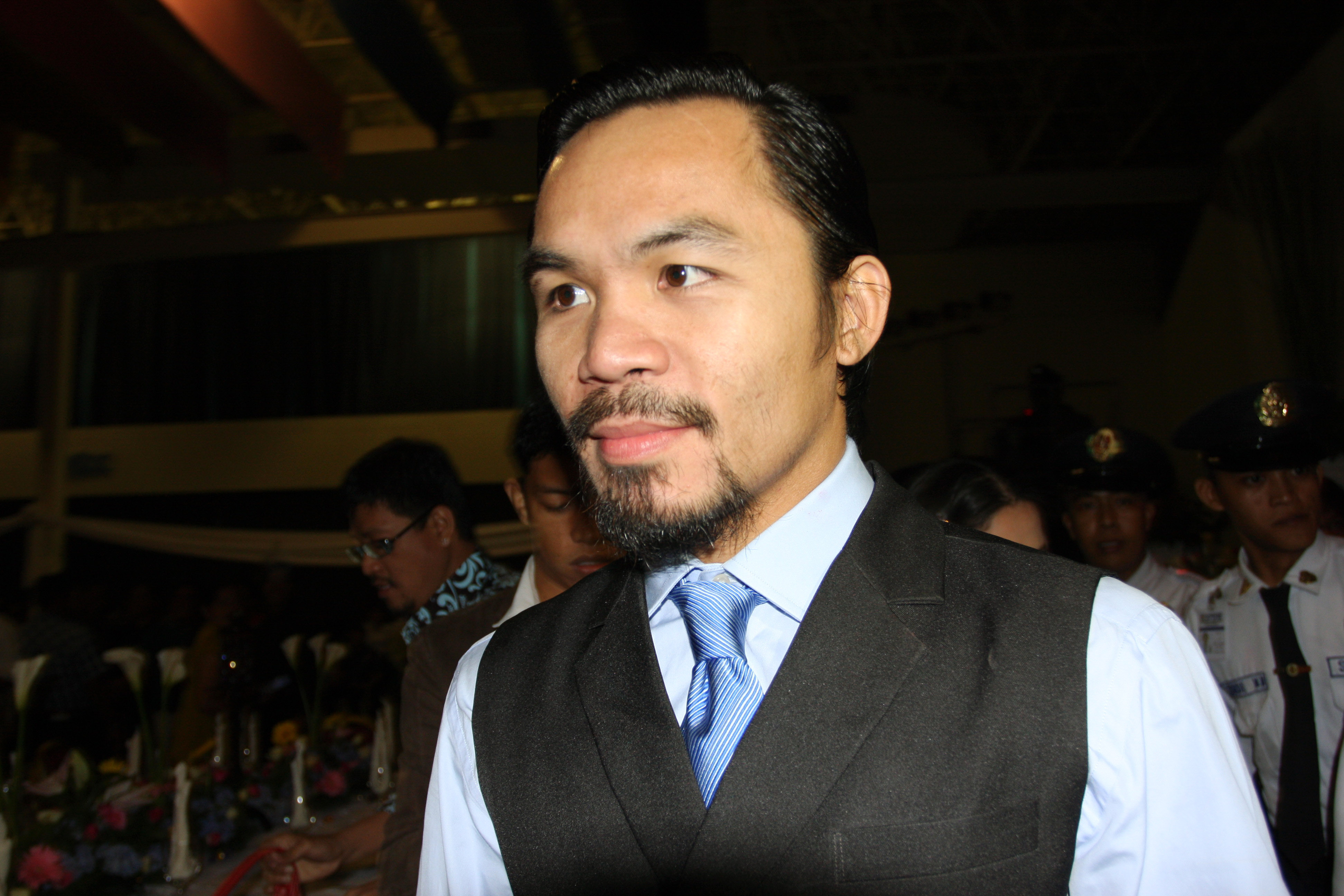 best loved 88e92 8f4f1 GENERAL SANTOS, PHILIPPINES - MAY 15  World welterweight boxing champion Manny  Pacquiao arrives at