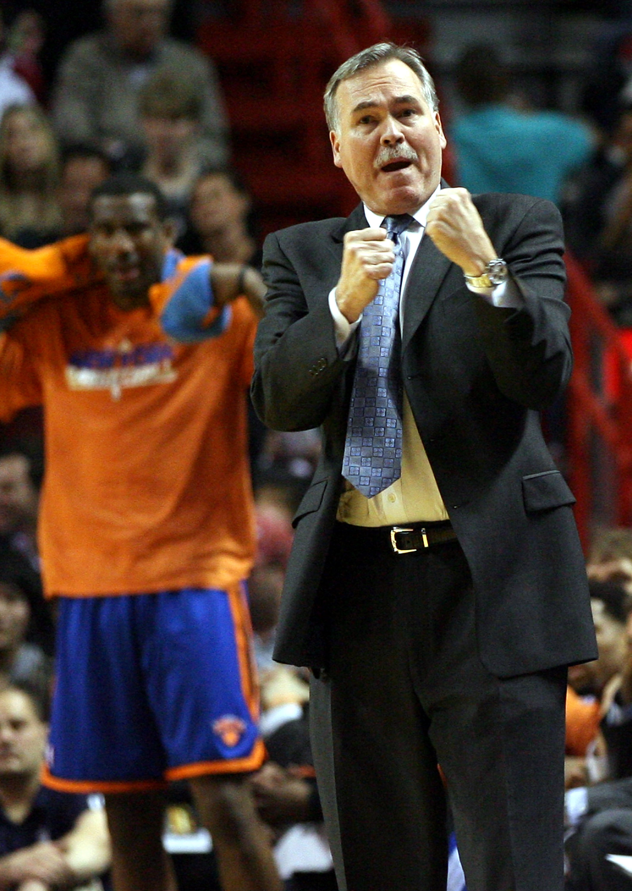 MIAMI - DECEMBER 28: Coach Mike D'Antoni of the New York Knicks shouts during a game against the Miami Heat at the American Airlines Arena on December 28, 2010 in Miami, Florida.  (Photo by Marc Serota/Getty Images)