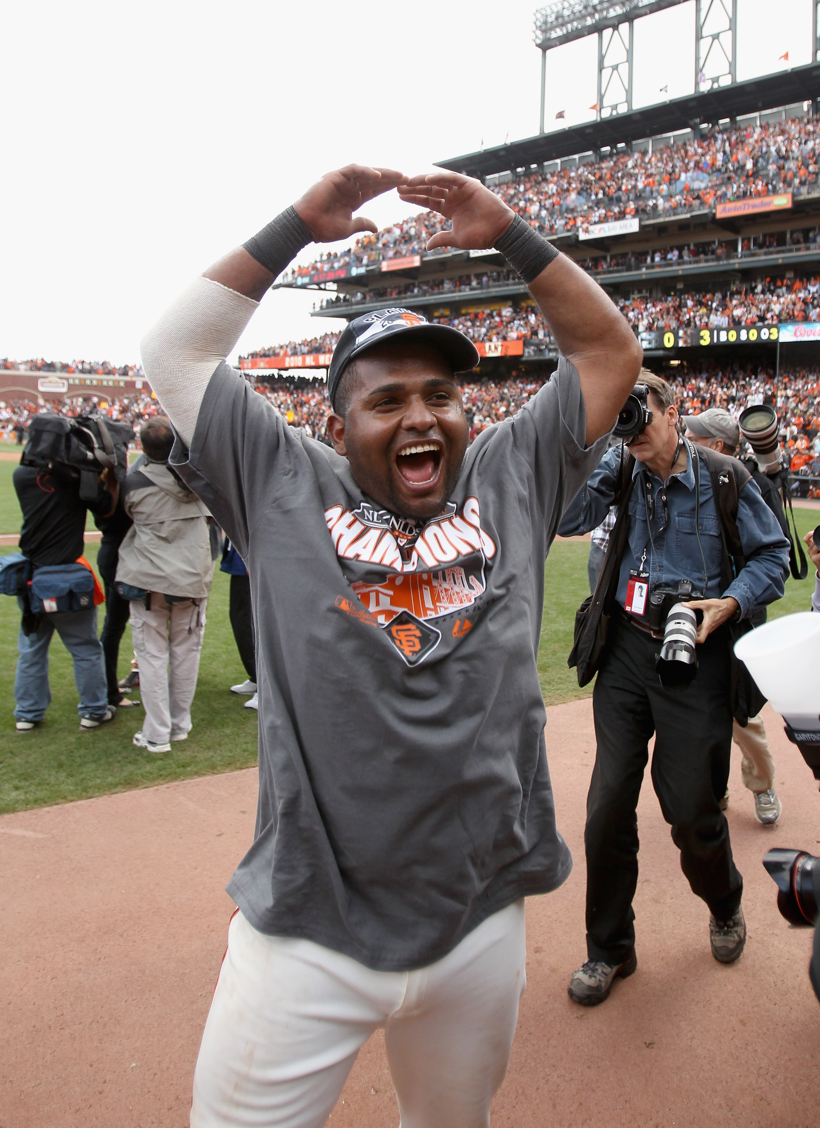 SAN FRANCISCO - OCTOBER 03:  Pablo Sandoval #48 of the San Francisco Giants celebrates after they beat the San Diego Padres to win the National League West Title at AT&T Park on October 3, 2010 in San Francisco, California.  (Photo by Ezra Shaw/Getty Imag