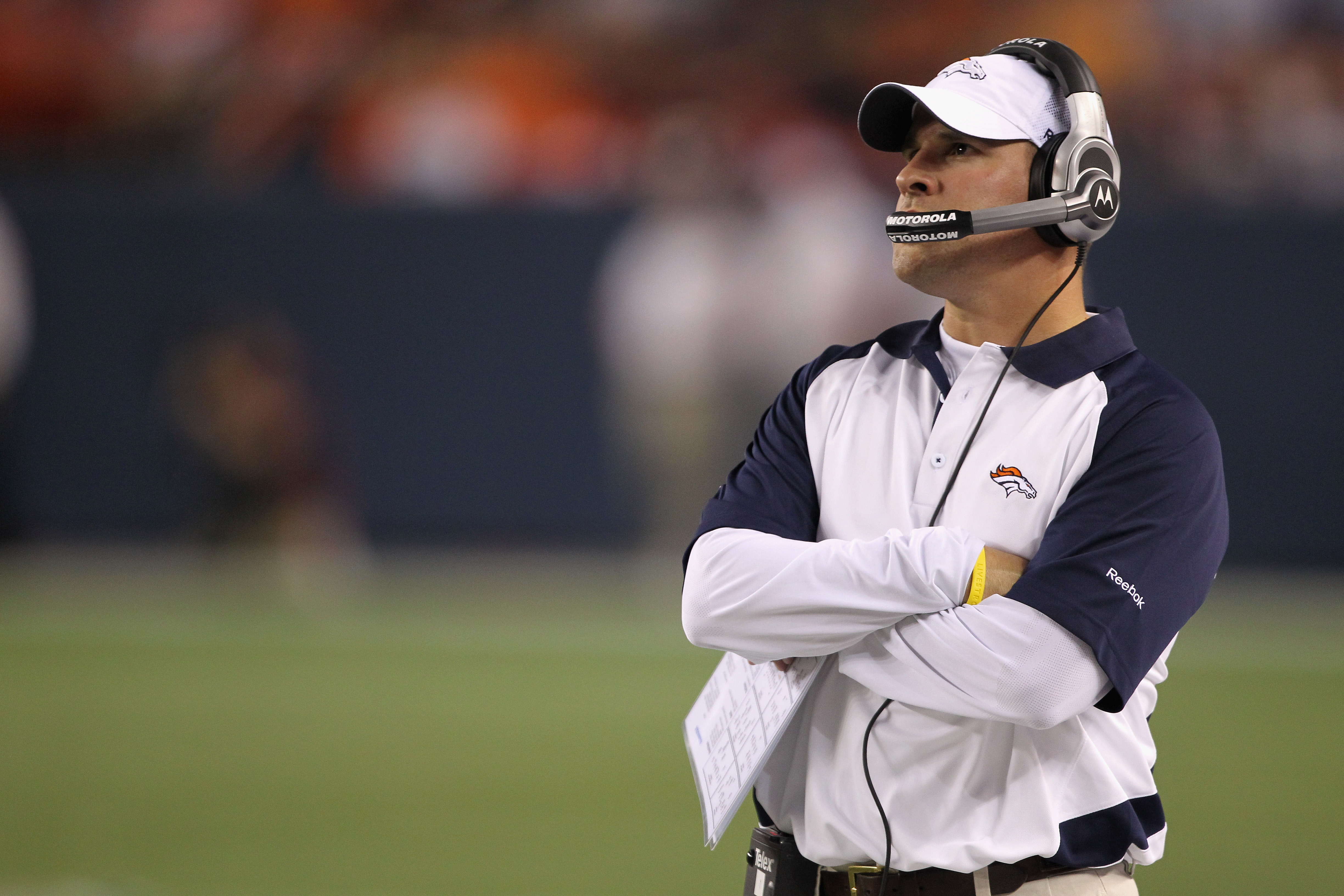 DENVER - AUGUST 21:  Head coach Josh McDaniels of the Denver Broncos leads his team against the Detroit Lions during preseason NFL action at INVESCO Field at Mile High on August 21, 2010 in Denver, Colorado. The Lions defeated the Broncos 25-20.  (Photo b