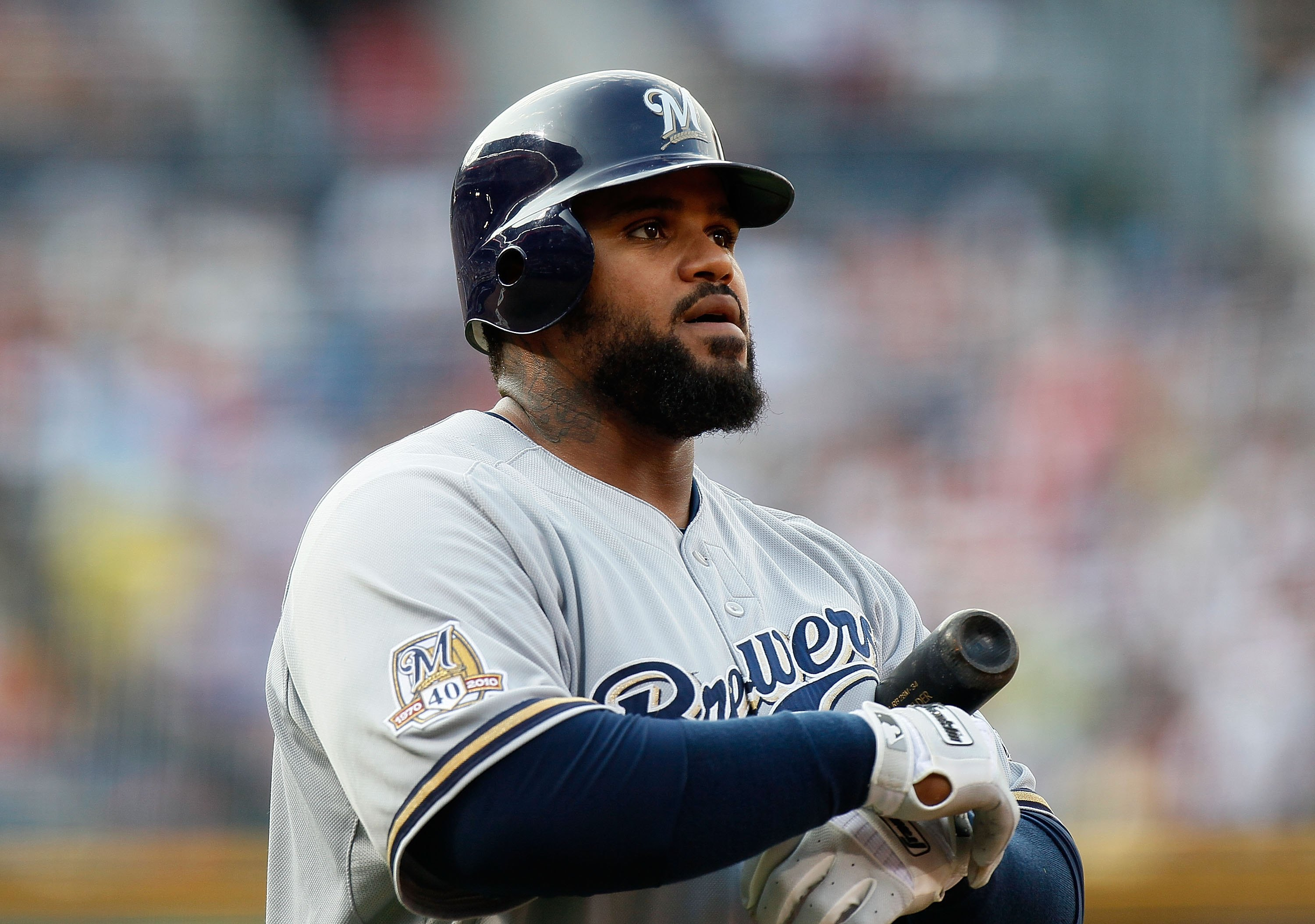 ATLANTA - JULY 15:  Prince Fielder #28 of the Milwaukee Brewers against the Atlanta Braves at Turner Field on July 15, 2010 in Atlanta, Georgia.  (Photo by Kevin C. Cox/Getty Images)