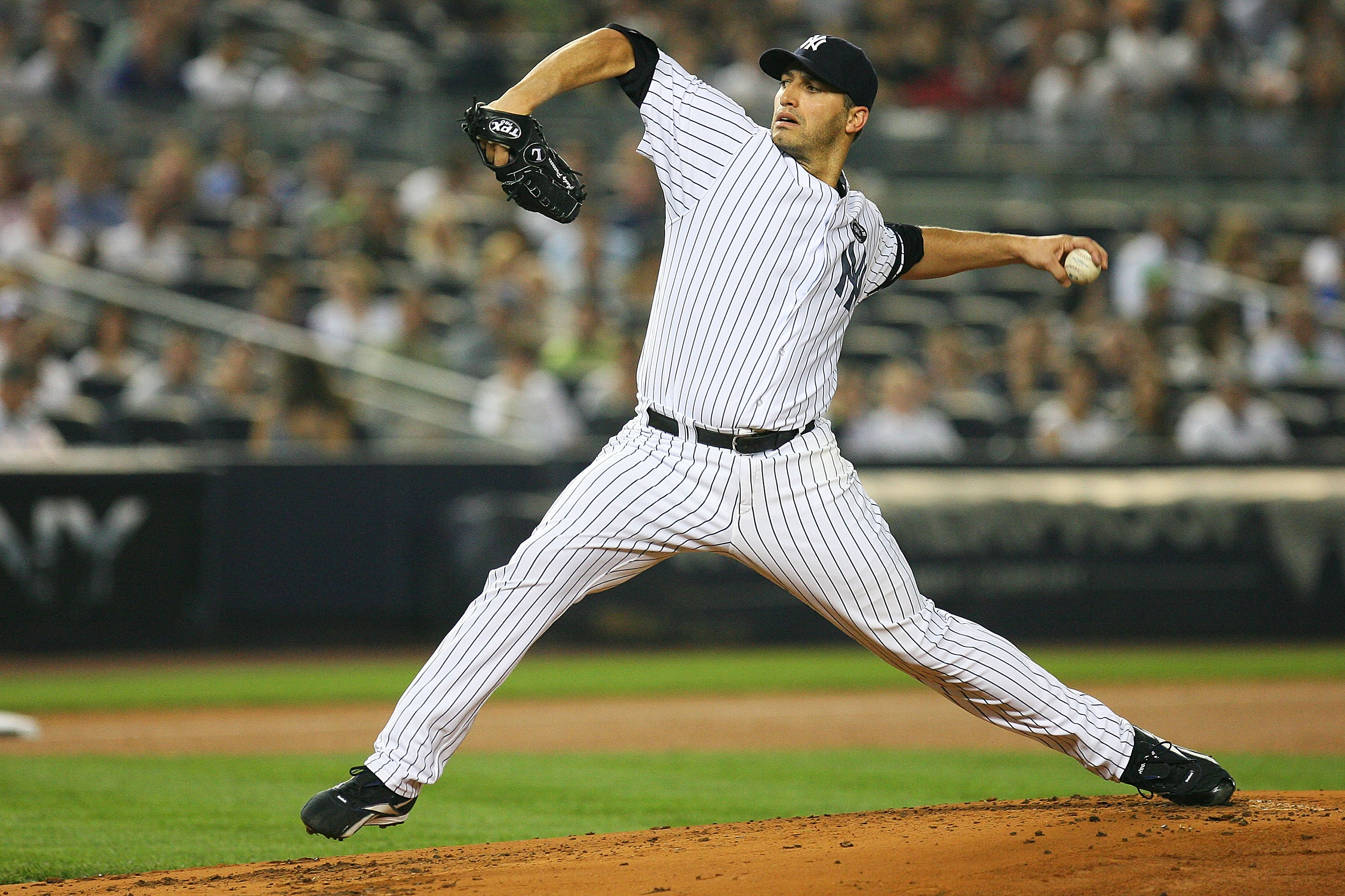 NEW YORK - SEPTEMBER 24:  Andy Pettitte #46 of the New York Yankees pitches against the Boston Red Sox on September 24, 2010 at Yankee Stadium in the Bronx borough of New York City.  (Photo by Andrew Burton/Getty Images)