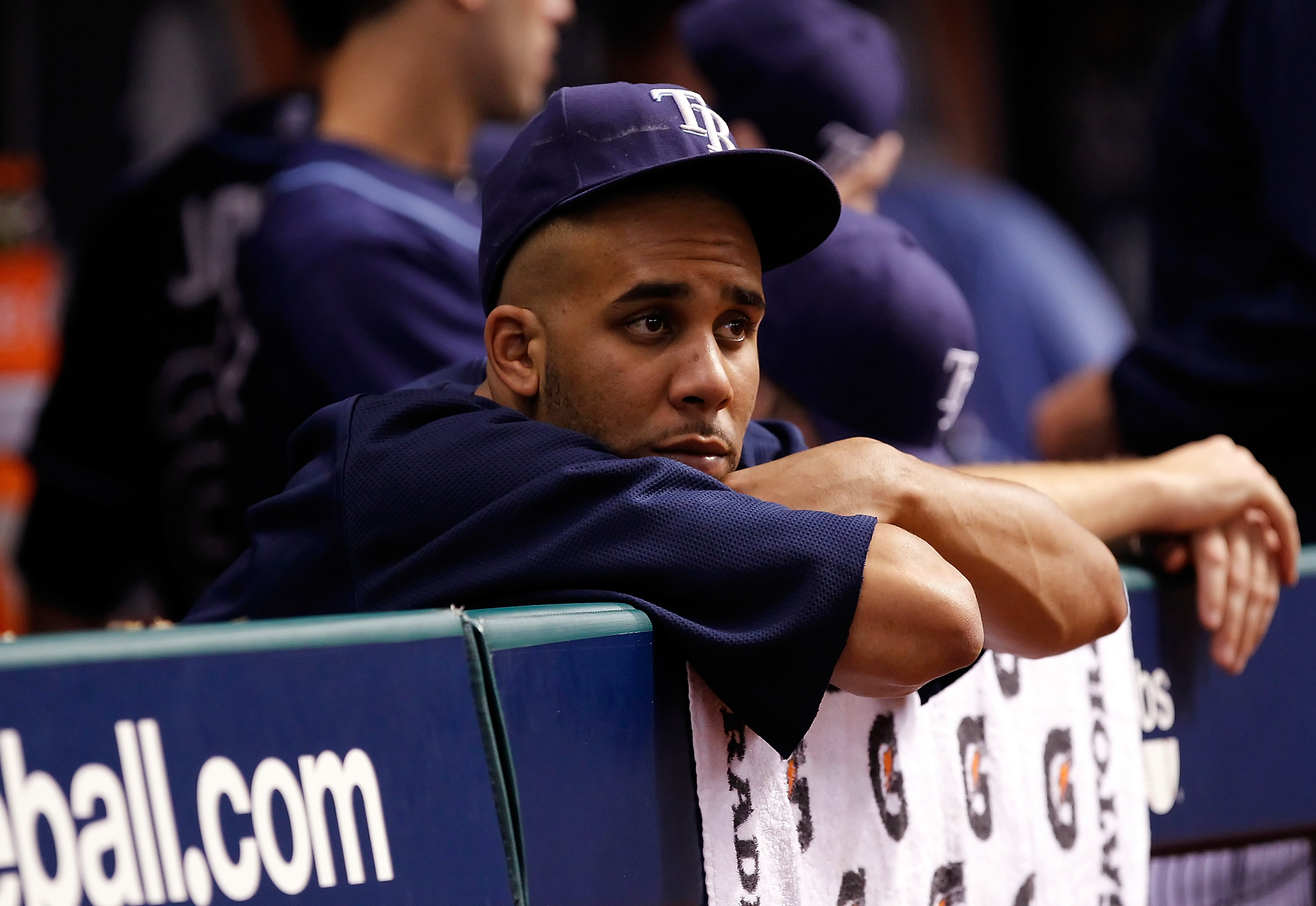 ST. PETERSBURG, FL - OCTOBER 12:  Pitcher David Price #14 of the Tampa Bay Rays watches his team against the Texas Rangers during Game 5 of the ALDS at Tropicana Field on October 12, 2010 in St. Petersburg, Florida.  (Photo by J. Meric/Getty Images)