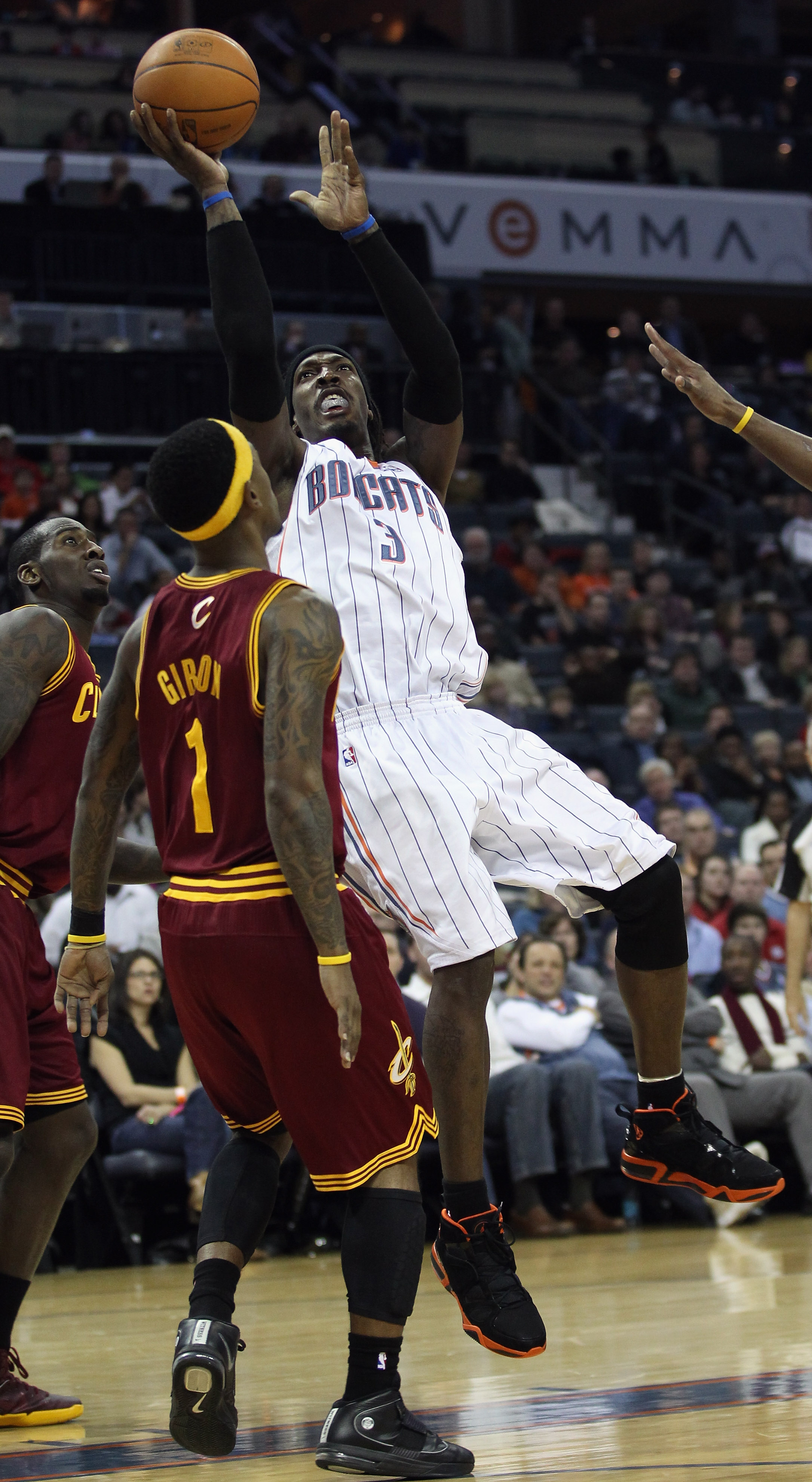 CHARLOTTE, NC - DECEMBER 29:  Daniel Gibson #1 of the Cleveland Cavaliers backs away from Gerald Wallace #3 of the Charlotte Bobcats during their game at Time Warner Cable Arena on December 29, 2010 in Charlotte, North Carolina. NOTE TO USER: User express