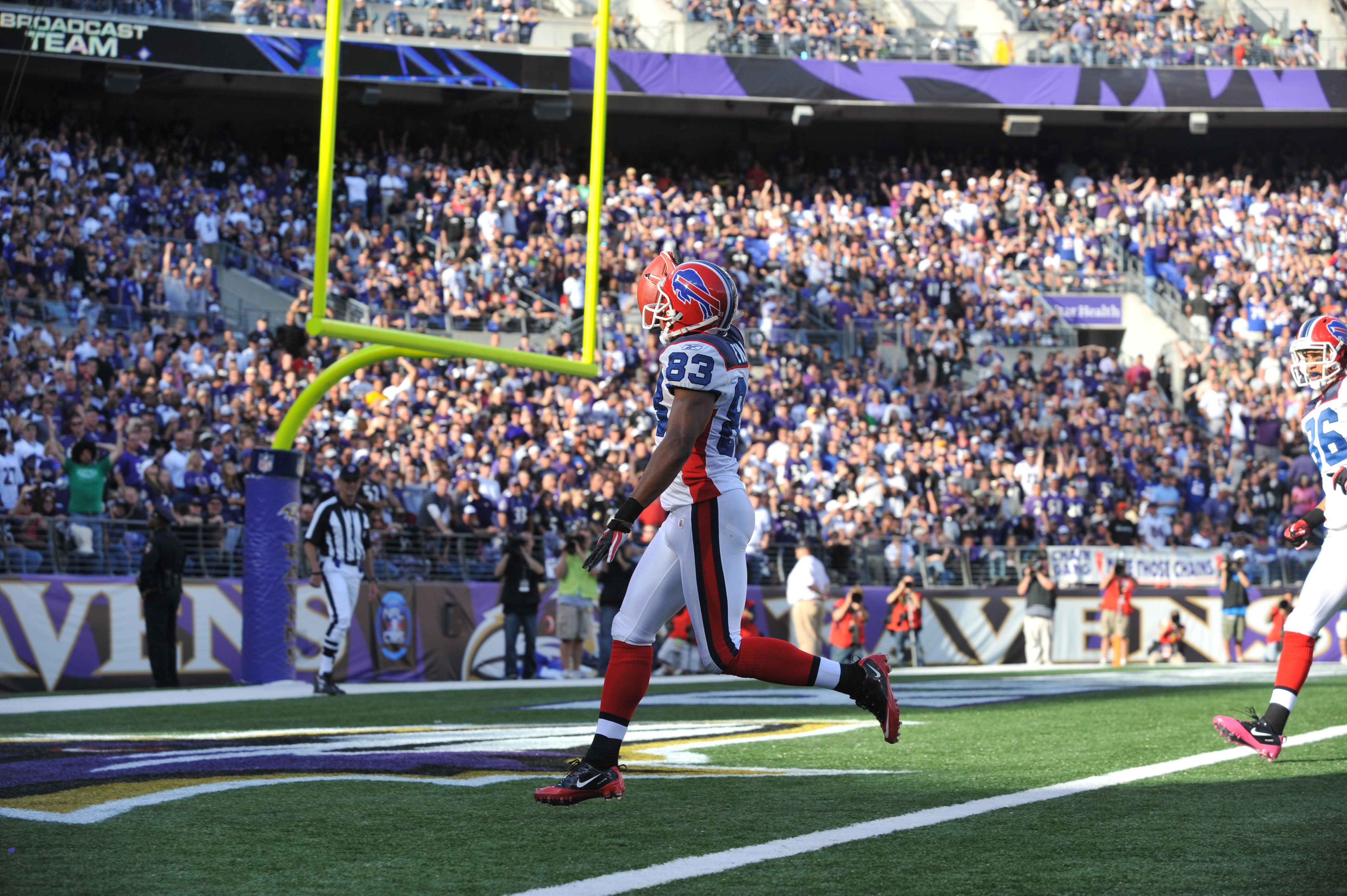 BALTIMORE, MD - OCTOBER 24:  Lee Evans #83 of the Buffalo Bills scores his third touchdown against the Baltimore Ravens at M&T Bank Stadium on October 24, 2010 in Baltimore, Maryland. The Ravens defeated the Bills 37-34. (Photo by Larry French/Getty Image