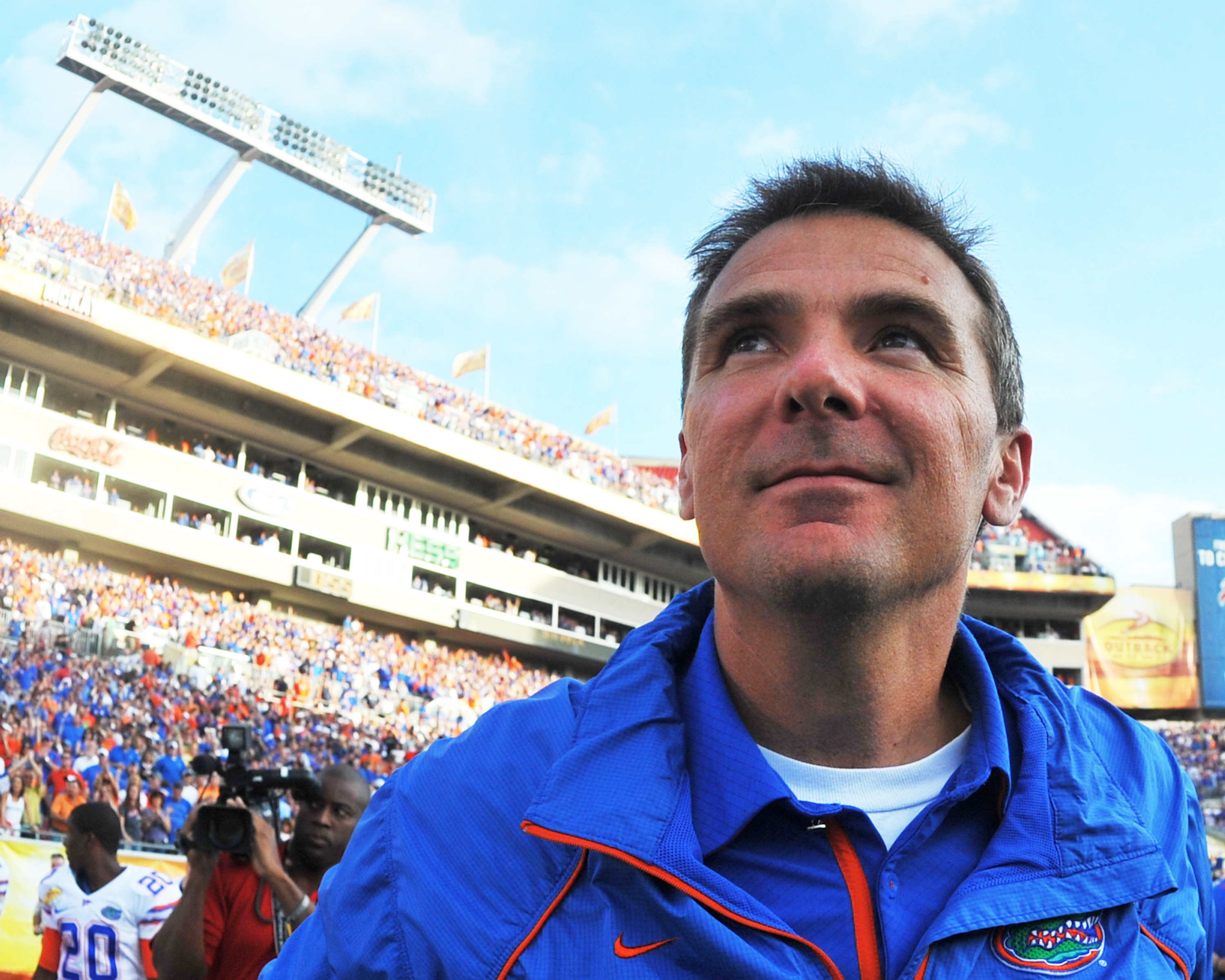 TAMPA, FL - JANUARY 1:  Coach Urban Meyer of the Florida Gators leaves the field after play against the Penn State Nittany Lions January 1, 2010 in the 25th Outback Bowl at Raymond James Stadium in Tampa, Florida.  (Photo by Al Messerschmidt/Getty Images)