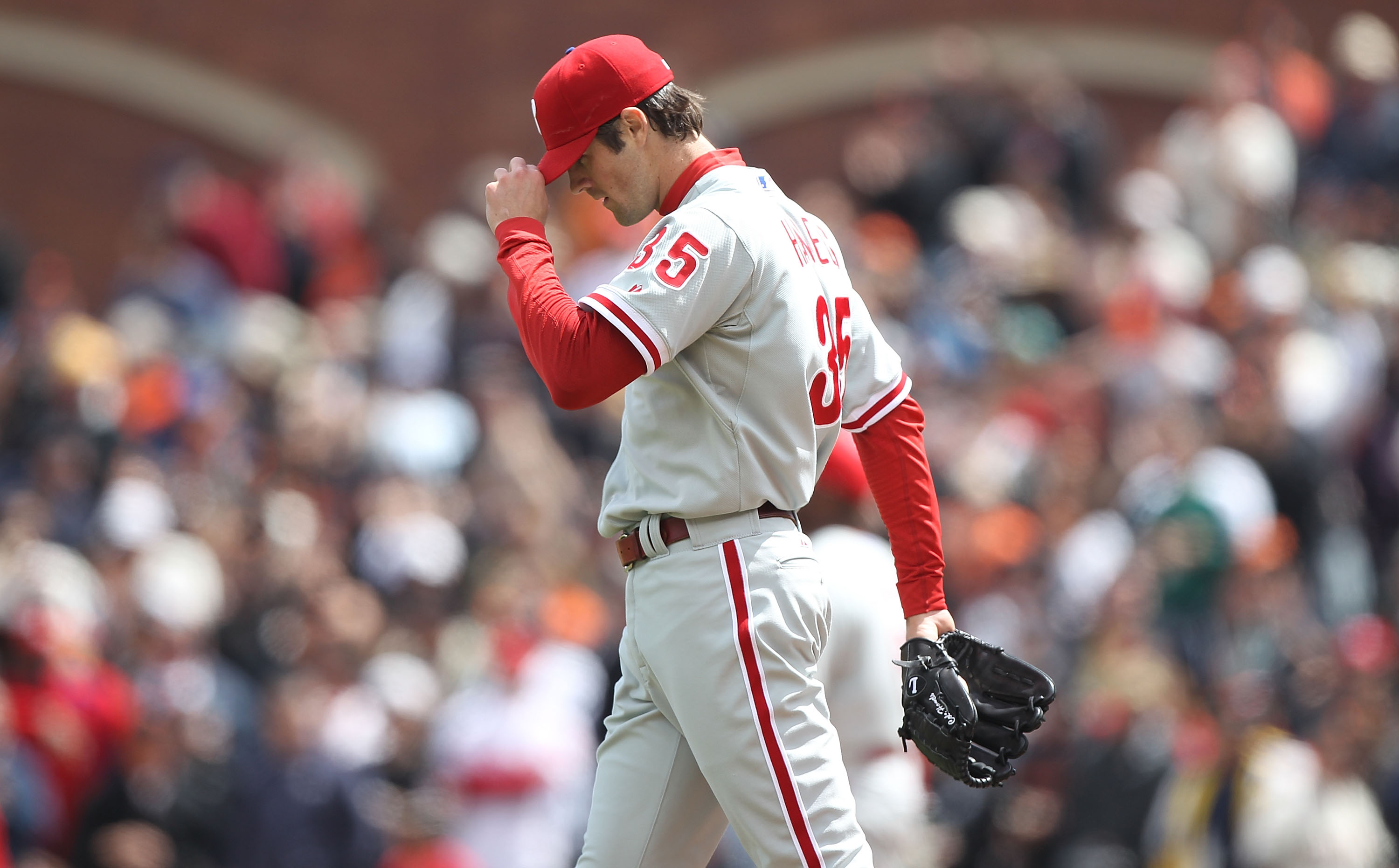 SAN FRANCISCO - APRIL 28:  Cole Hamels #35 of the Philadelphia Phillies looks on after walking in a run in the sixth inning against the San Francisco Giants during an MLB game at AT&T Park on April 28, 2010 in San Francisco, California.  (Photo by Jed Jac