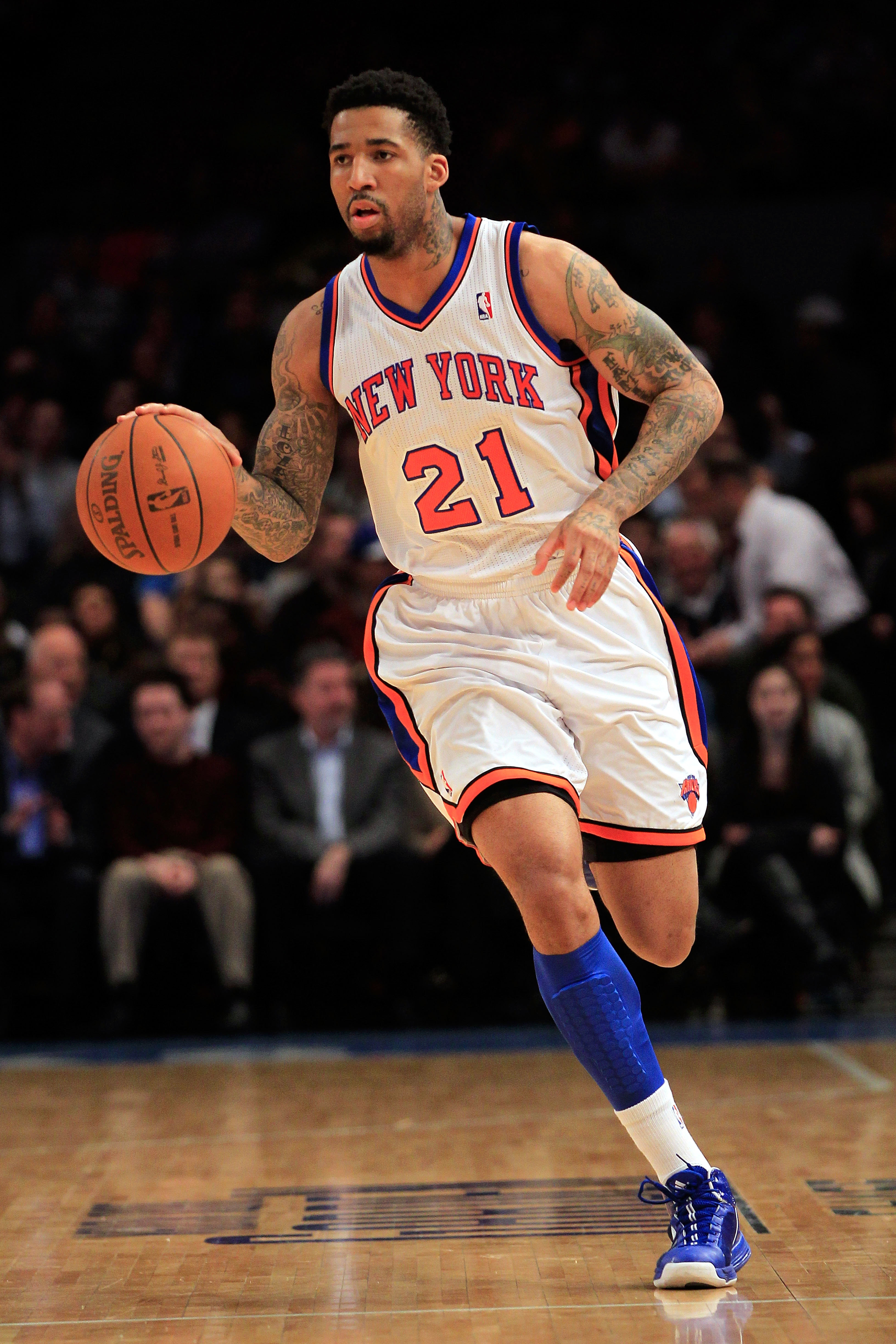 NEW YORK, NY - JANUARY 14: Wilson Chandler #21 of the New York Knicks dribbles against the Sacramento Kings at Madison Square Garden on January 14, 2011 in New York City. NOTE TO USER: User expressly acknowledges and agrees that, by downloading and or usi
