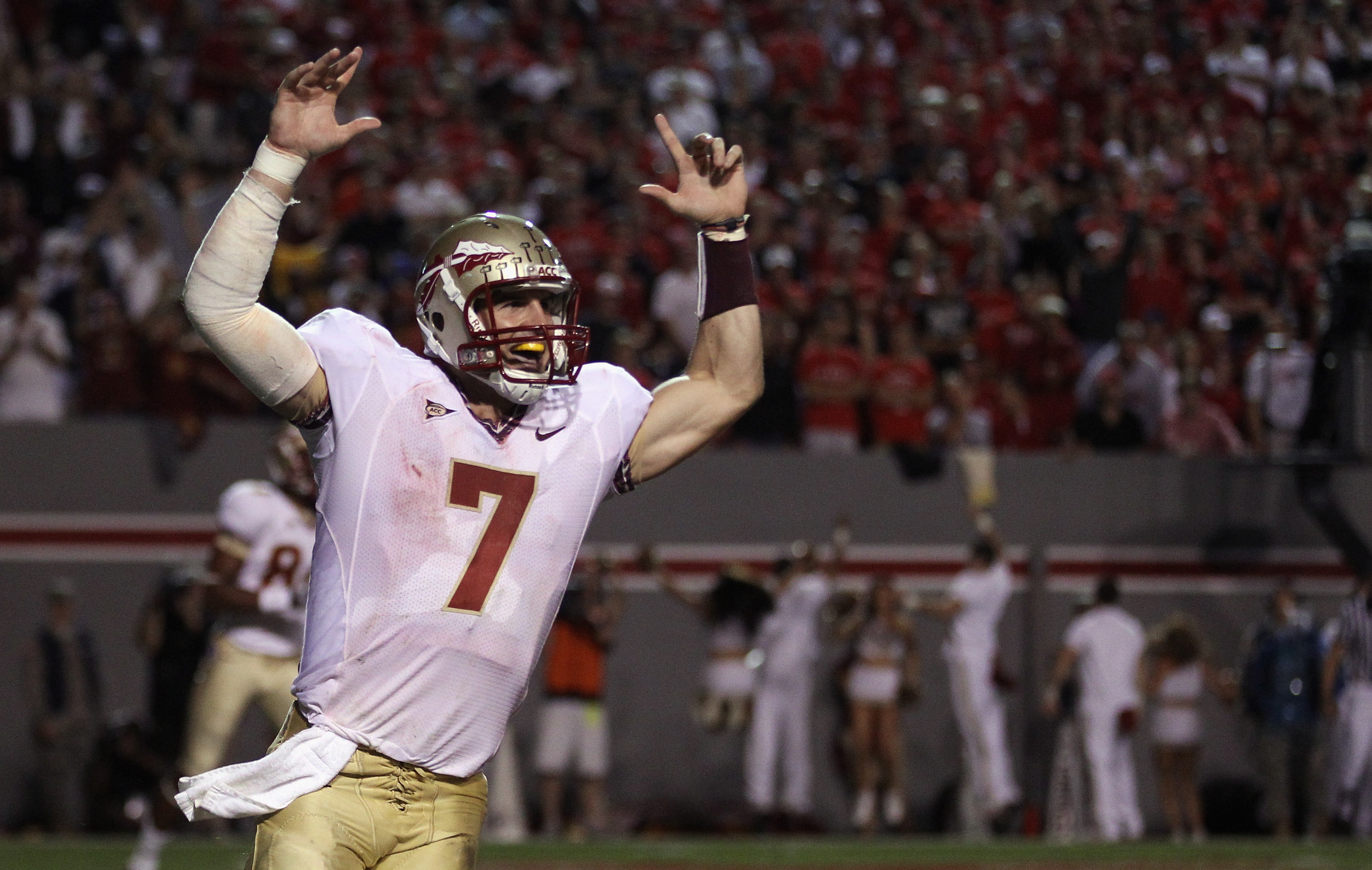 RALEIGH, NC - OCTOBER 28:  Christian Ponder #7 of the Florida State Seminoles celebrates after scoring a touchdown against the North Carolina State Wolfpack during their game at Carter-Finley Stadium on October 28, 2010 in Raleigh, North Carolina.  (Photo