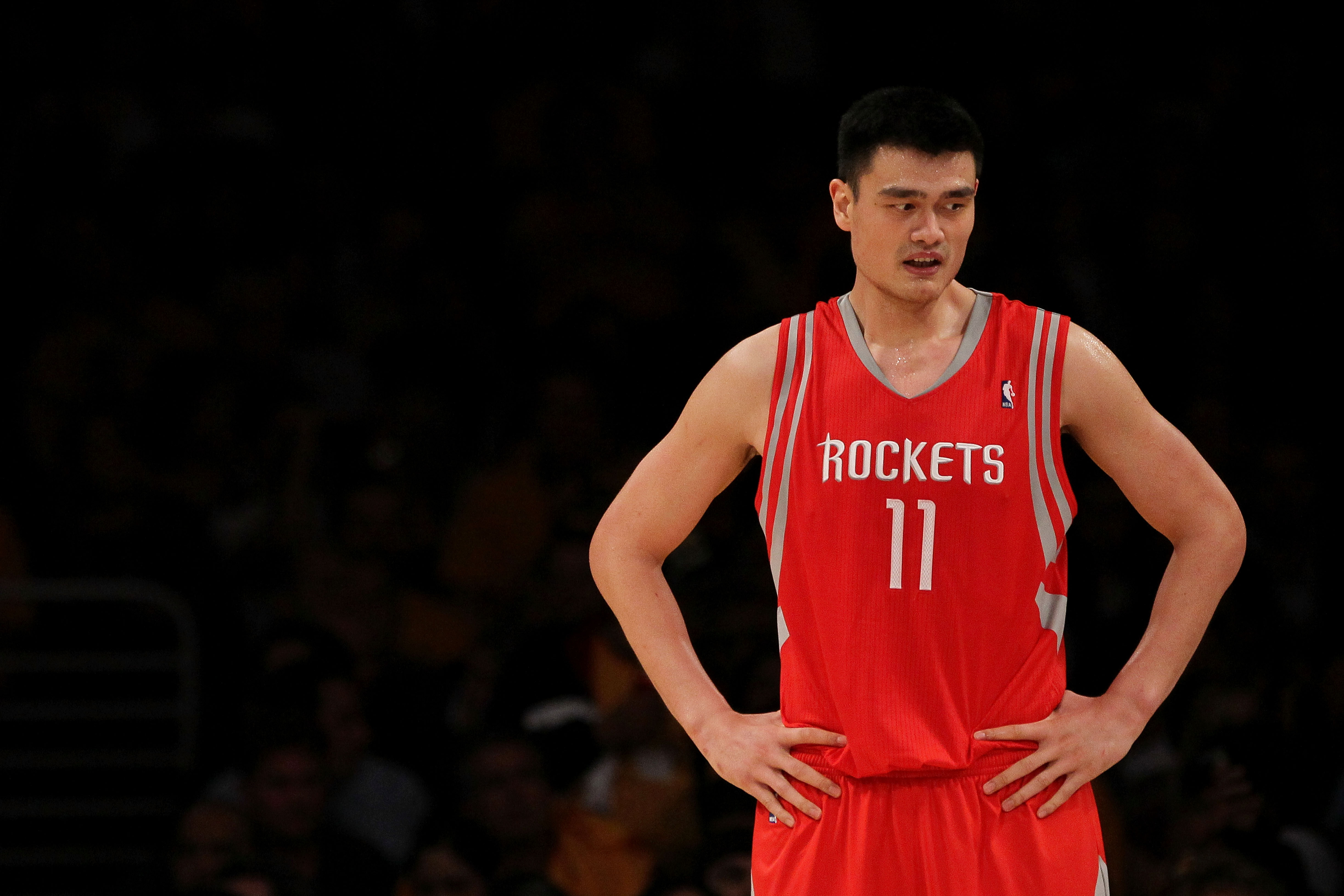 LOS ANGELES, CA - OCTOBER 26:  Yao Ming #11 of the Houston Rockets looks on during their opening night game against the Los Angeles Lakers at Staples Center on October 26, 2010 in Los Angeles, California. NOTE TO USER: User expressly acknowledges and agre
